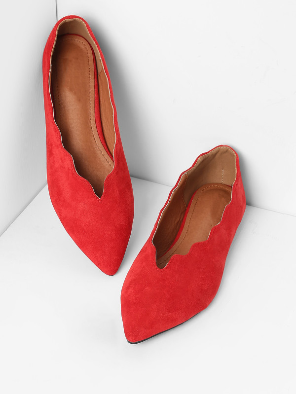 Scalloped Trim Pointed Toe Flats