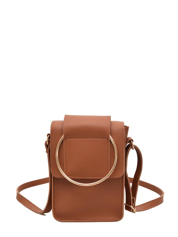 Ring Design Flap Shoulder Bag