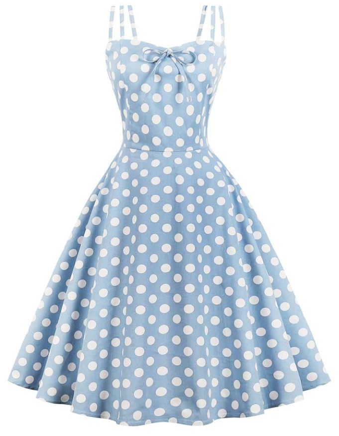 Polka Dot Blue and White Dress