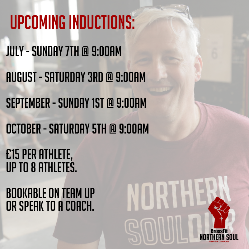 Inductions - After you've tried a session / purchaseda membership, you'll need to attend theclosest induction day you can.In this 90 minute session you'll learnthe basics of CrossFit and becomecomfortable with the equipment.You'll have time to ask the coachany questions you may have aboutabsolutely anything.Induction days cost £15 per athlete,up to 8 athletes can register.