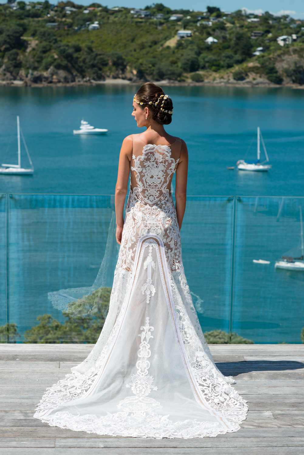 On the back is a floral vase in the design, representing the brides passion and career.