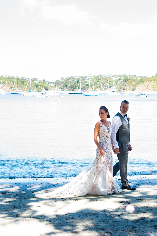 After the wedding a stroll along Oneroa beach