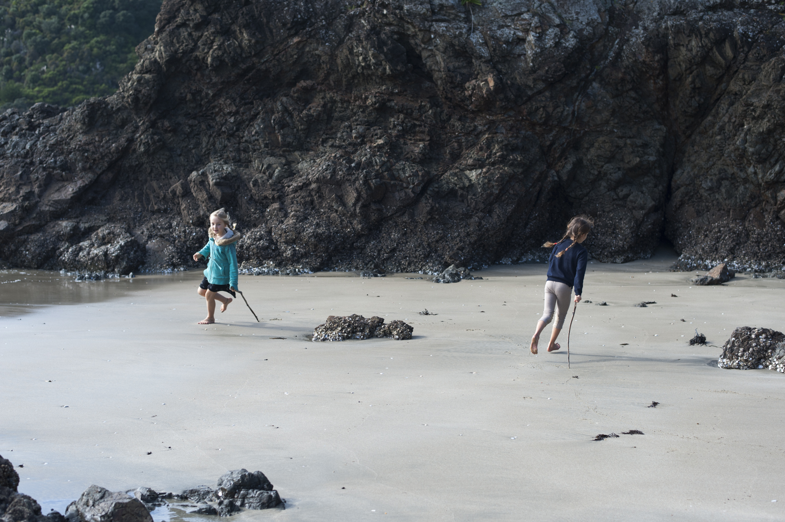 Running in circles, we were the first to arrive at low tide