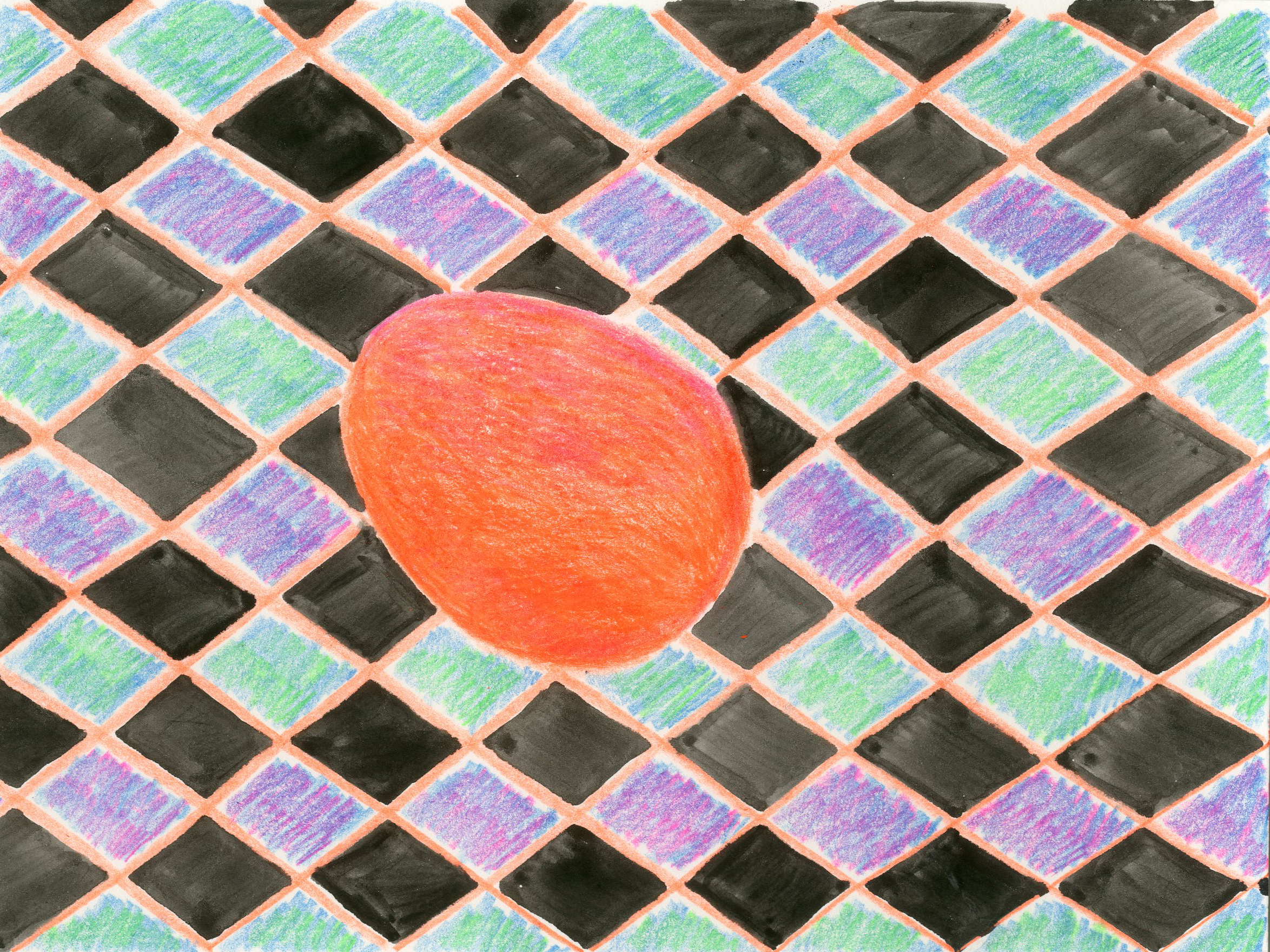 """""""Orange Egg"""" - Colored Pencil and Water Color"""