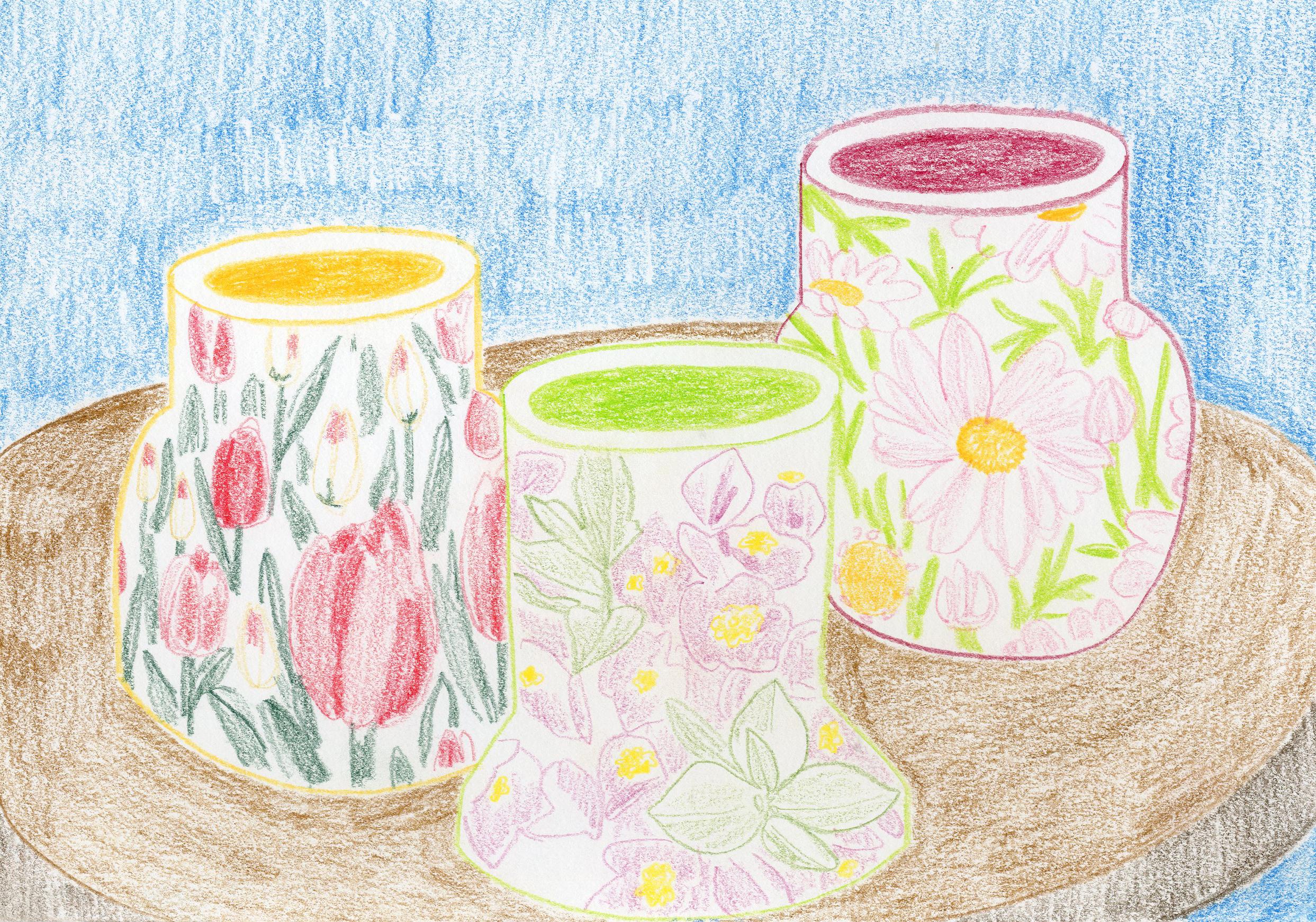 """Floral Vessels"" - Colored Pencil"