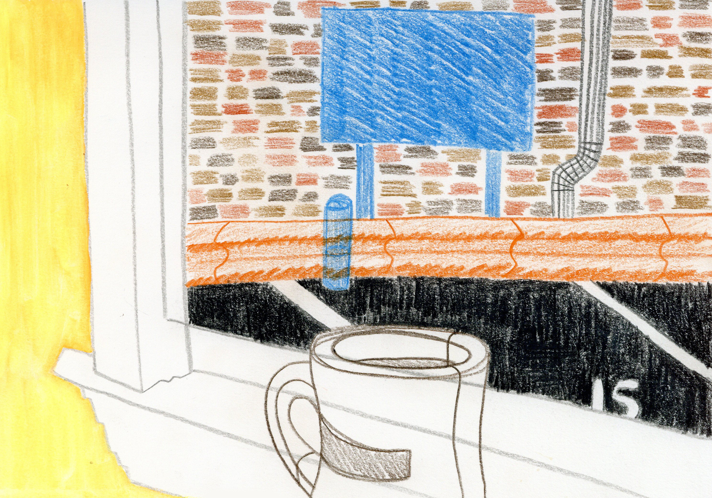 """Window Seat at Roh's"" - Colored Pencil"