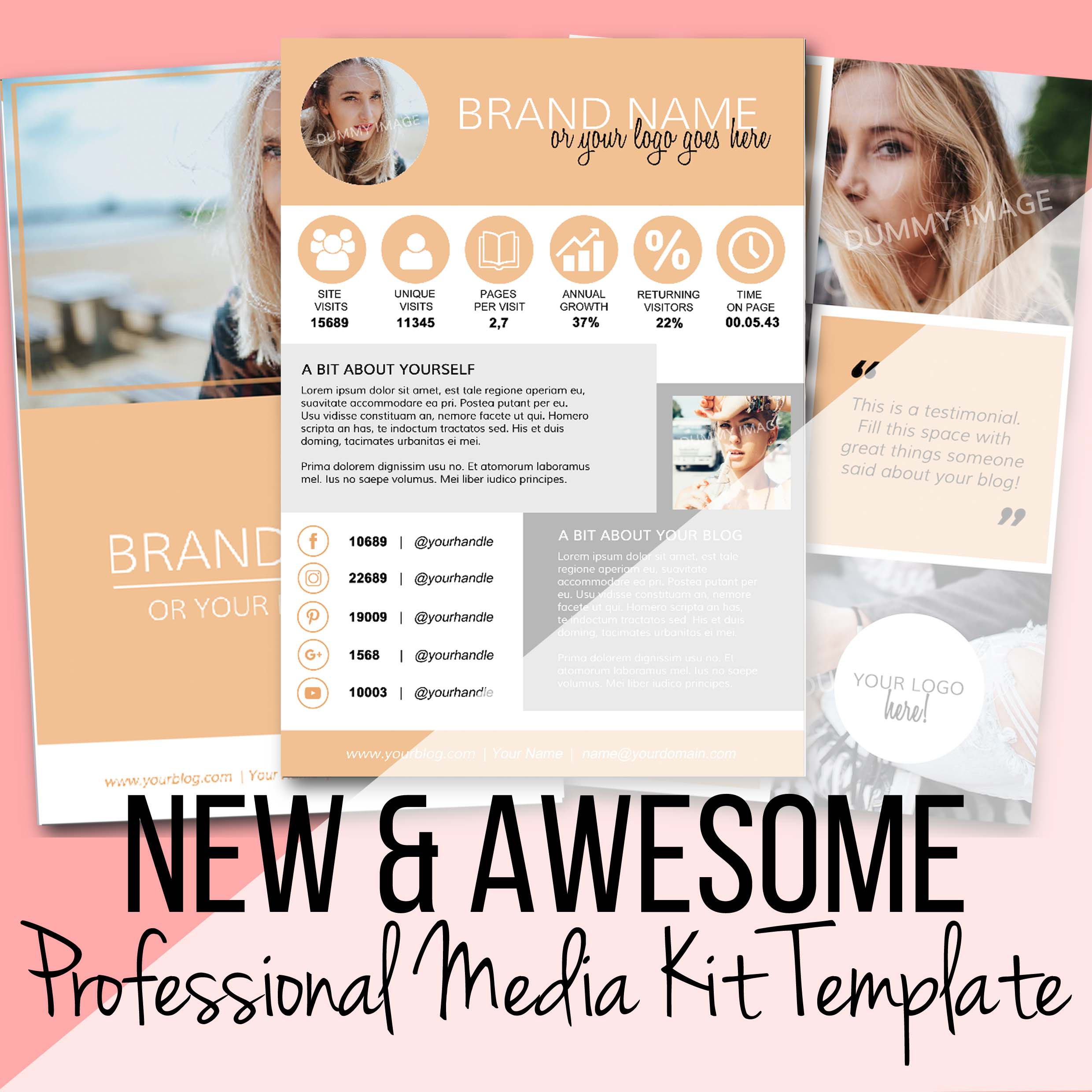 Download Professional Customisable Media Kit Template for Bloggers