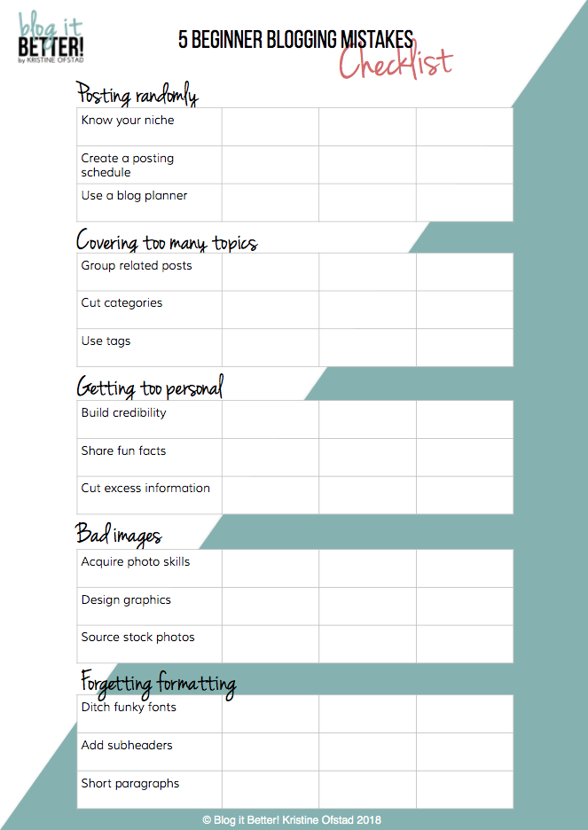Download FREE worksheet - 5 big mistakes new bloggers make - Blog it Better!