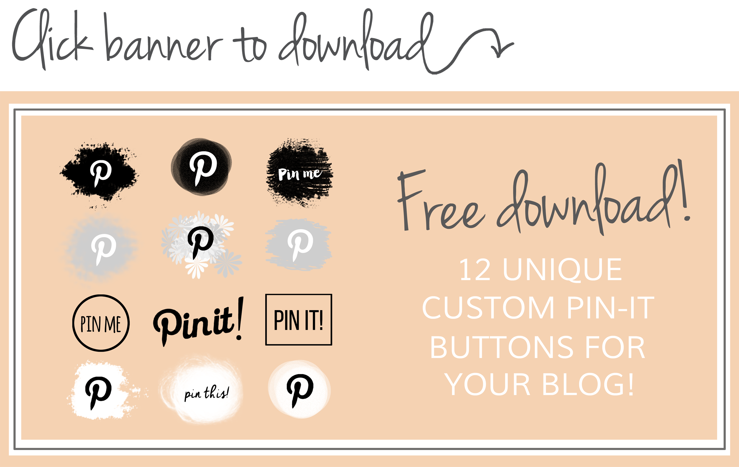 >>FREE Pinterest pin-it buttons<< How to easily add a custom Pinterest pin-it button to your blog on Squarespace or Wordpress!