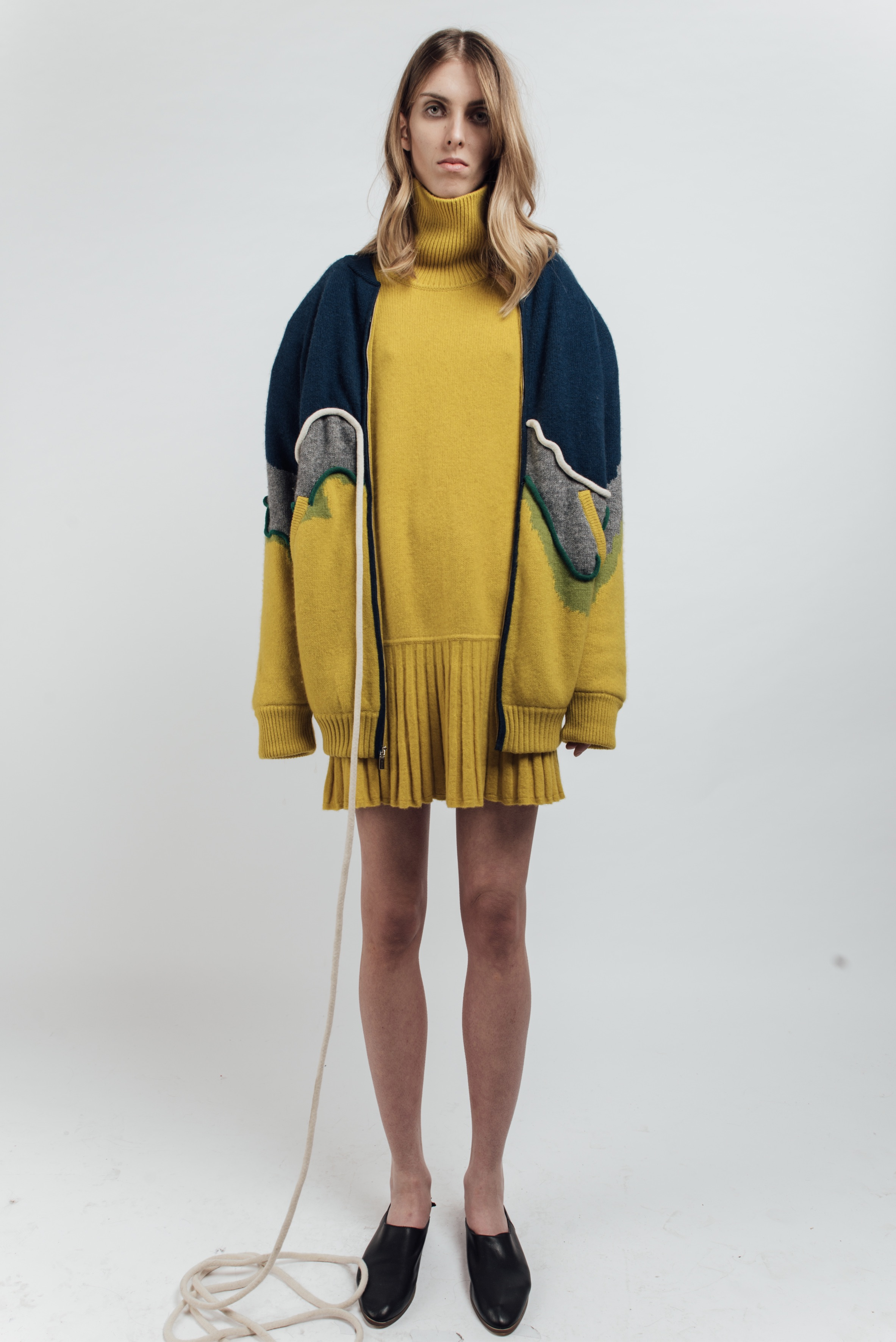 Yellow bomber jacket with tube detail