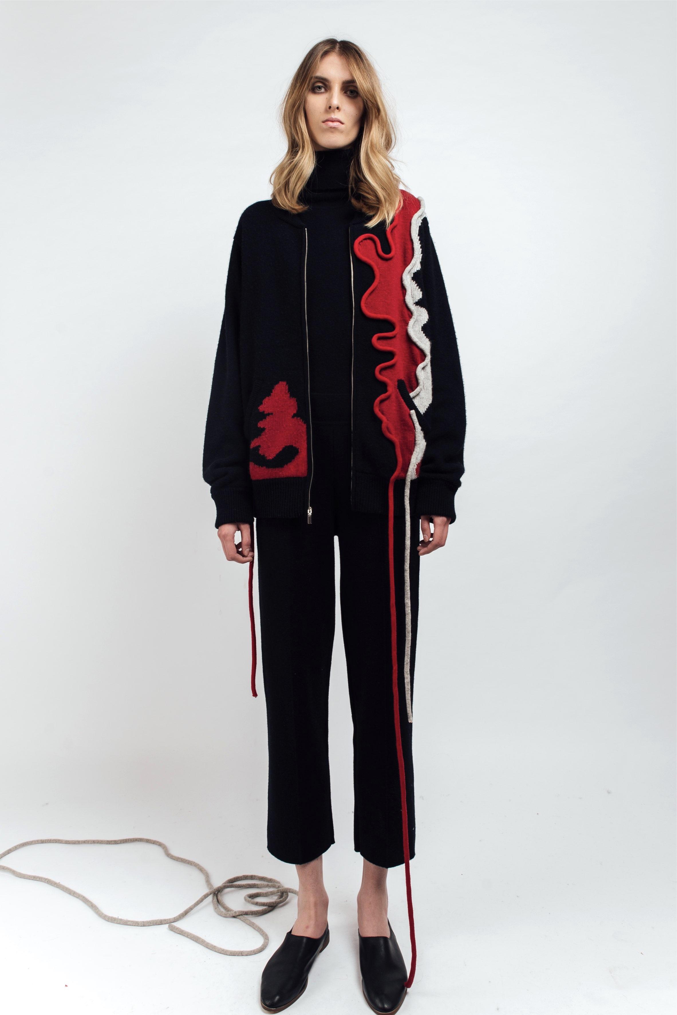 Bomber jacket with tube details
