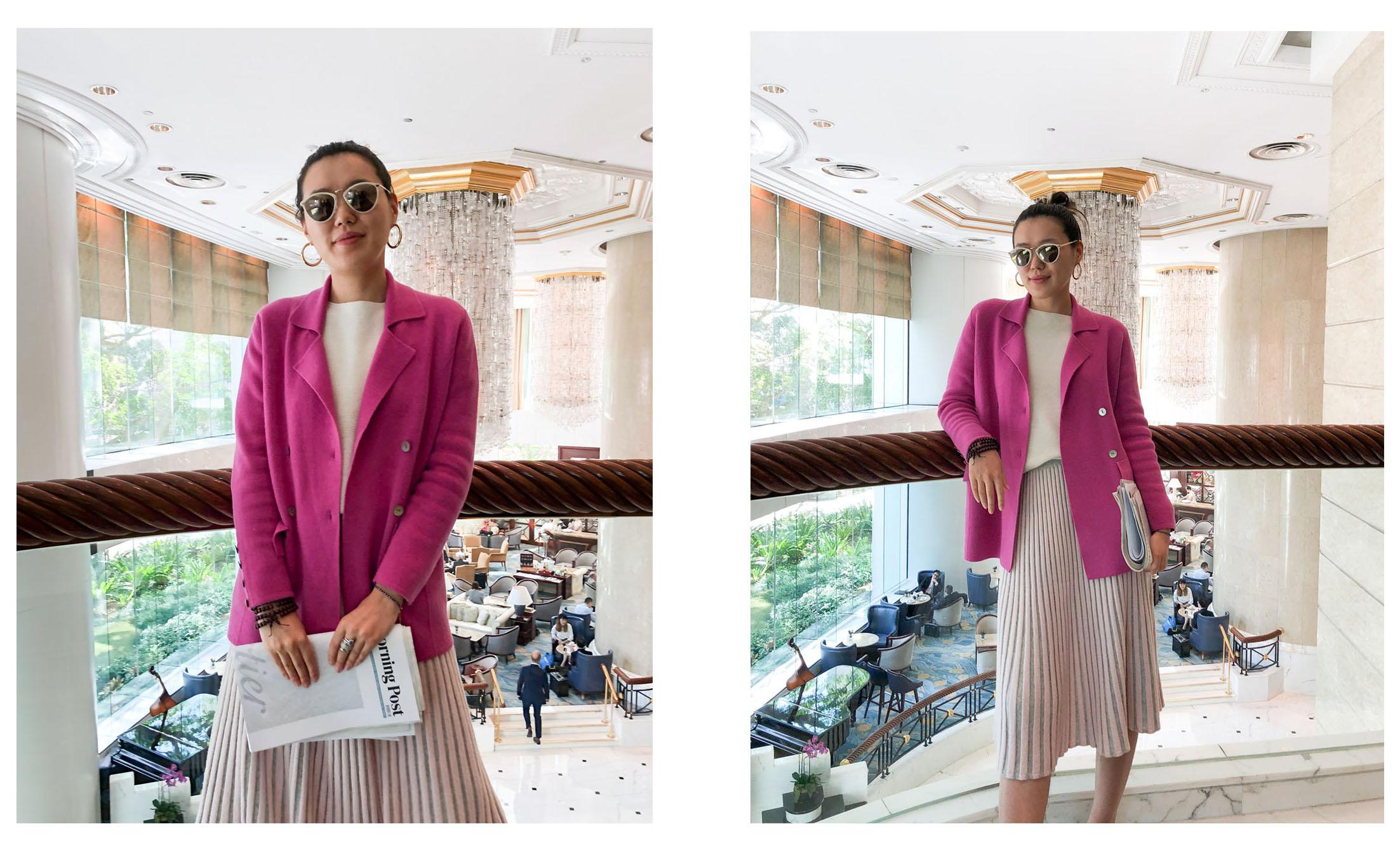 Mandkhai wears SS18 suit blazer in pink, SS17 skirt