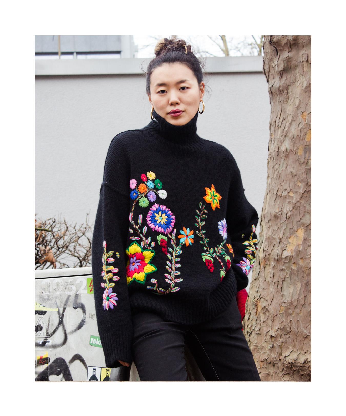 Mandkhai wearing embroidered oversized2 jumper