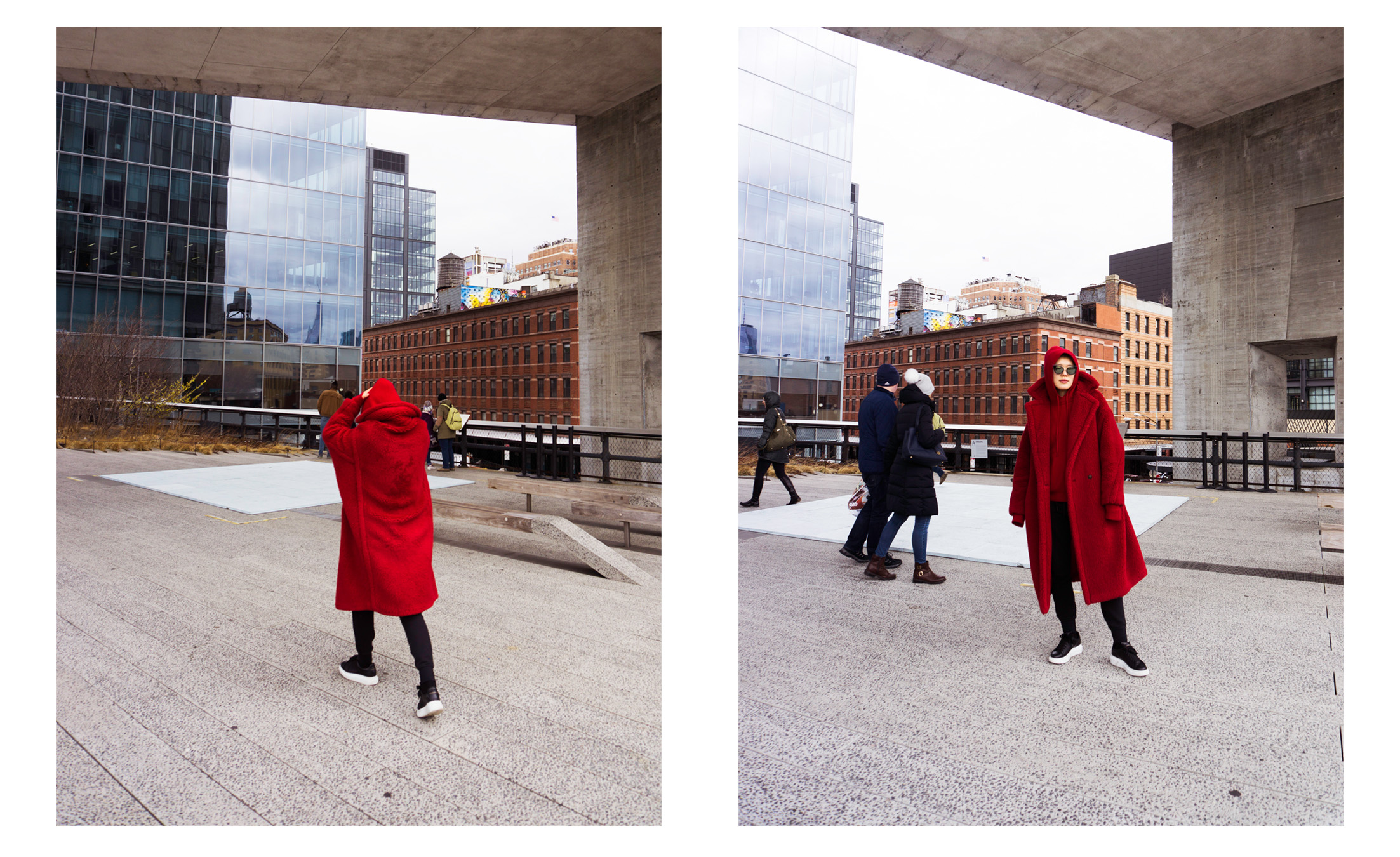 Mandkhai wears MANDKHAI AW18/19 hoodie in red and Maxmara coat.