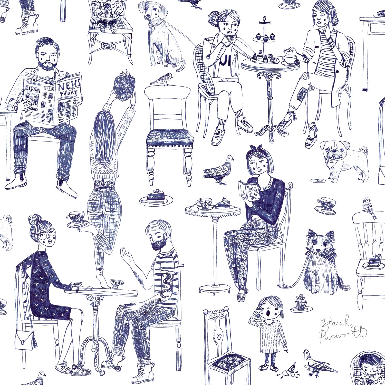Cafe goers drawn with biro.