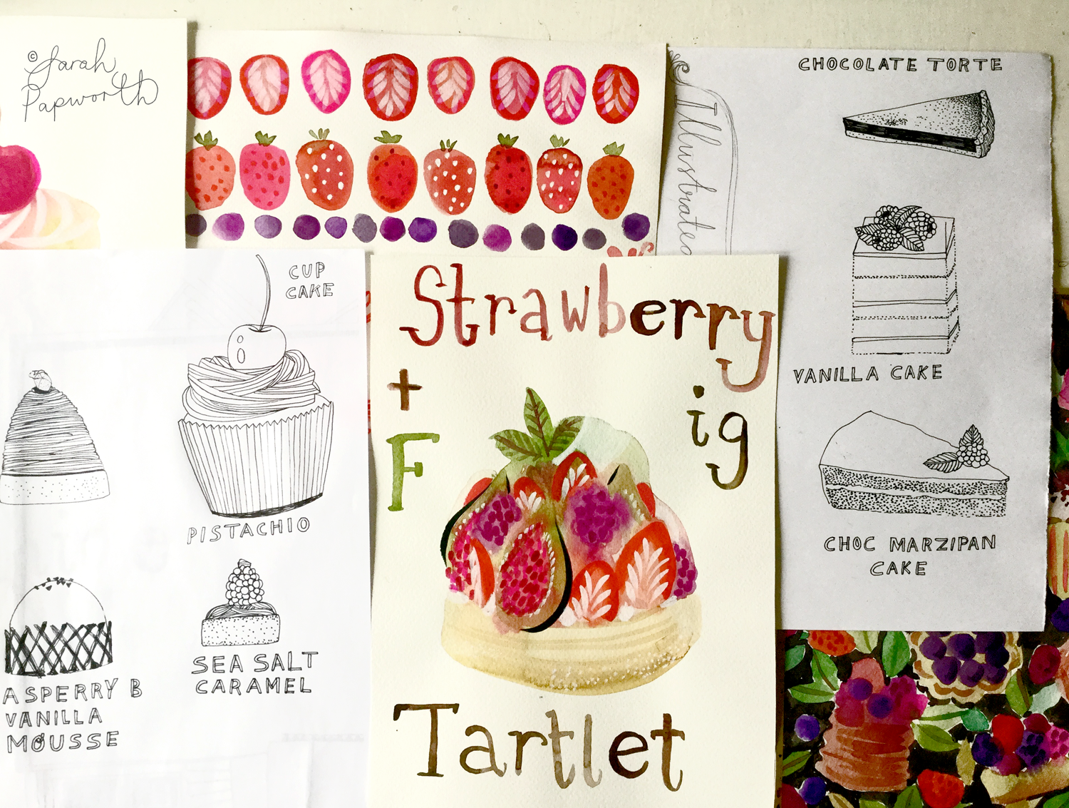 Various cakes I painted and drew.