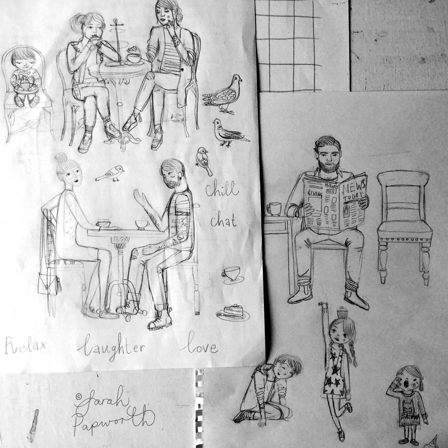 I sketched the people out in pencil on rough paper, then used my A4 light-box to trace over with biro.