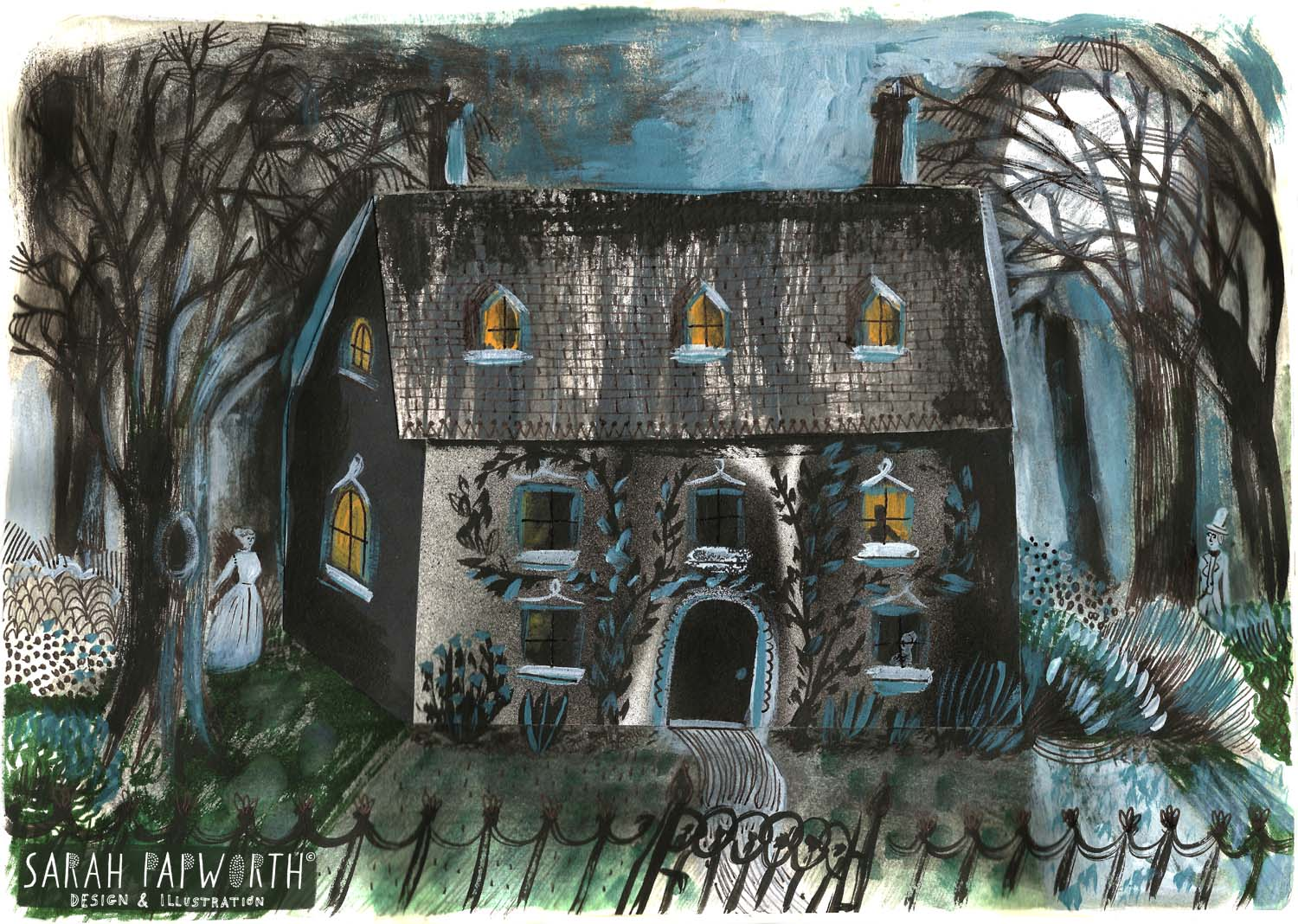 haunted house illustration hand painted collage by sarah papworth.jpg