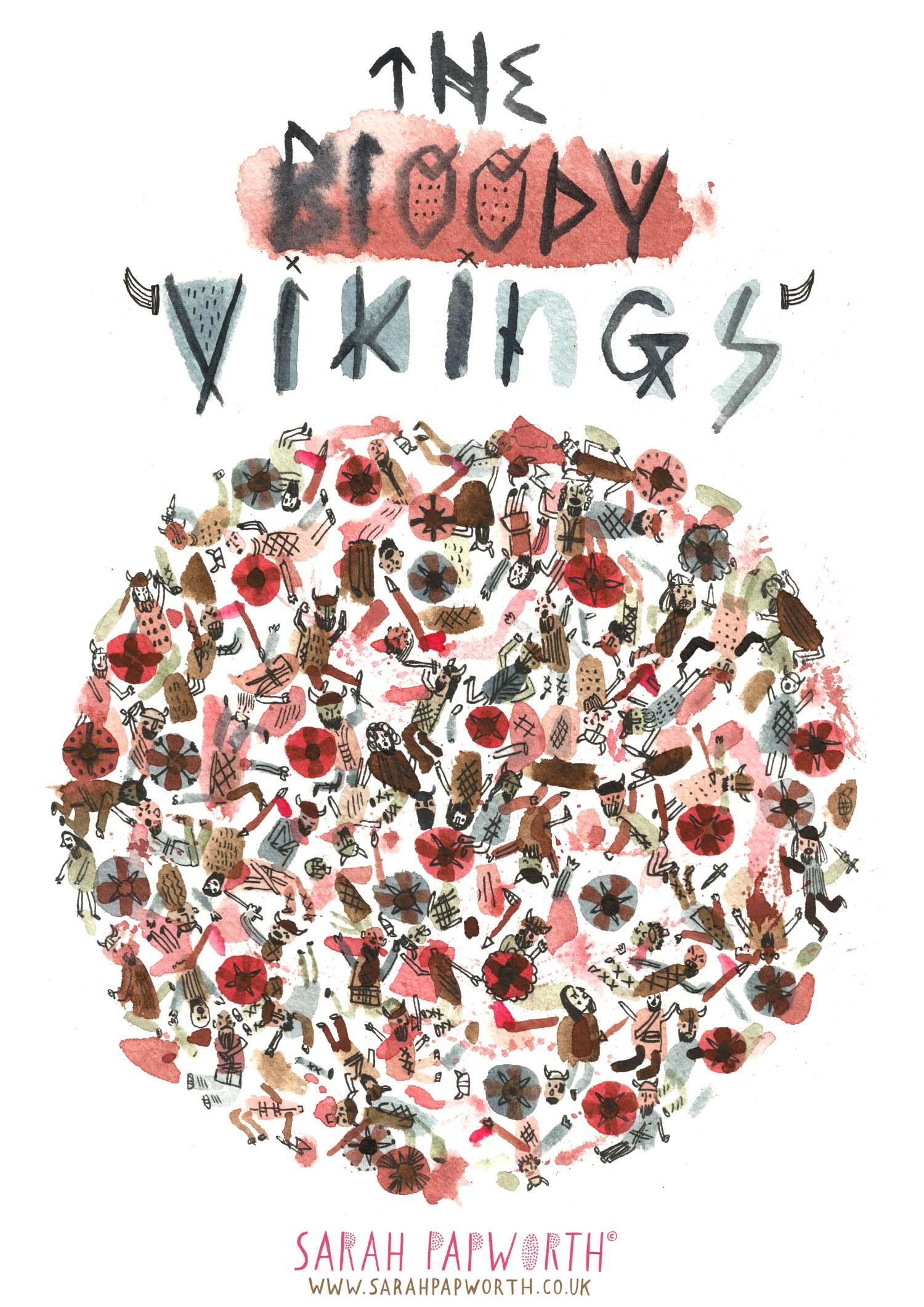 bloody vikings watercolour illustration historical drawings book illustrator sarah papworth.jpg