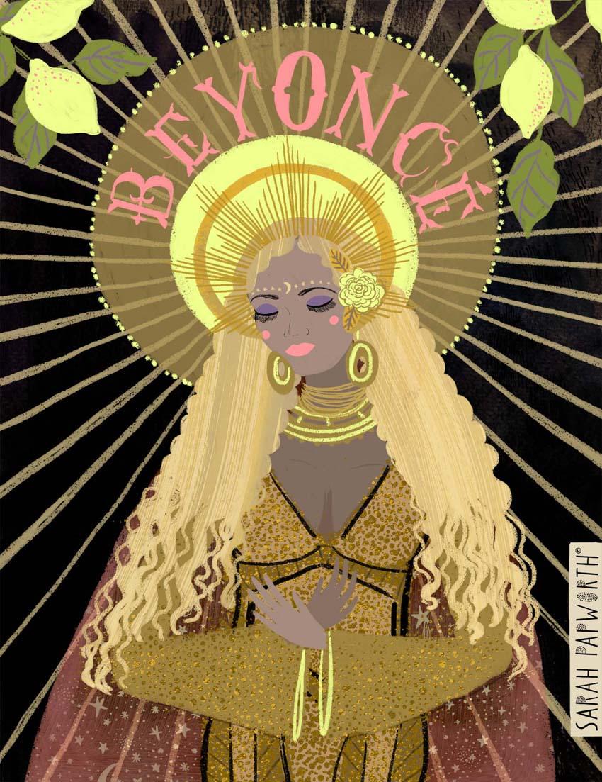 beyonce madonna religious illustration singer portrait sarah papworth design.jpg