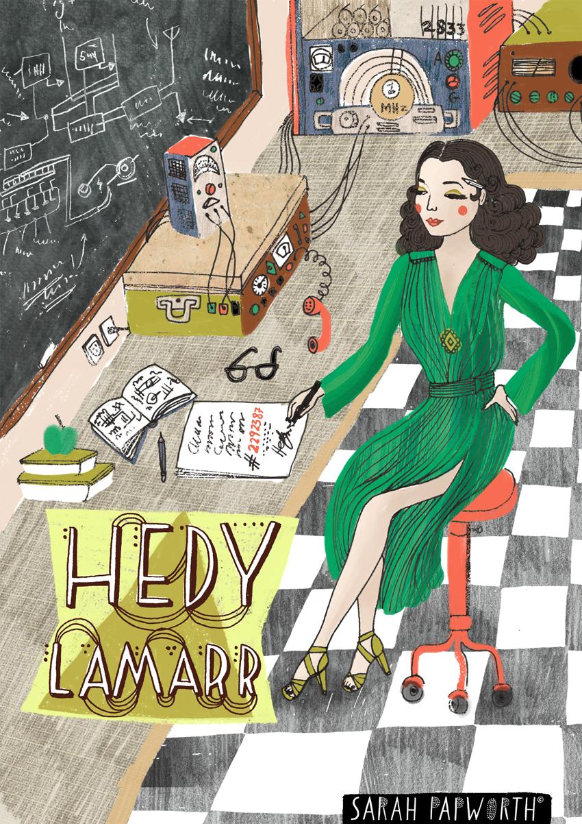hedy lamarr illustrated portrait film star book illusration sarah papworth low res.jpg