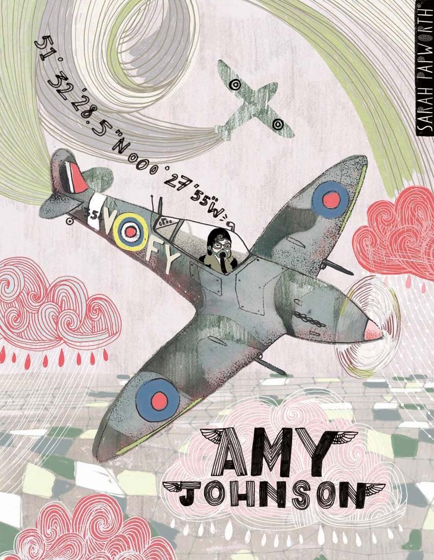 amy johnson pilot ww2 portrait illustration book published work by sarah papworth RBG.jpg