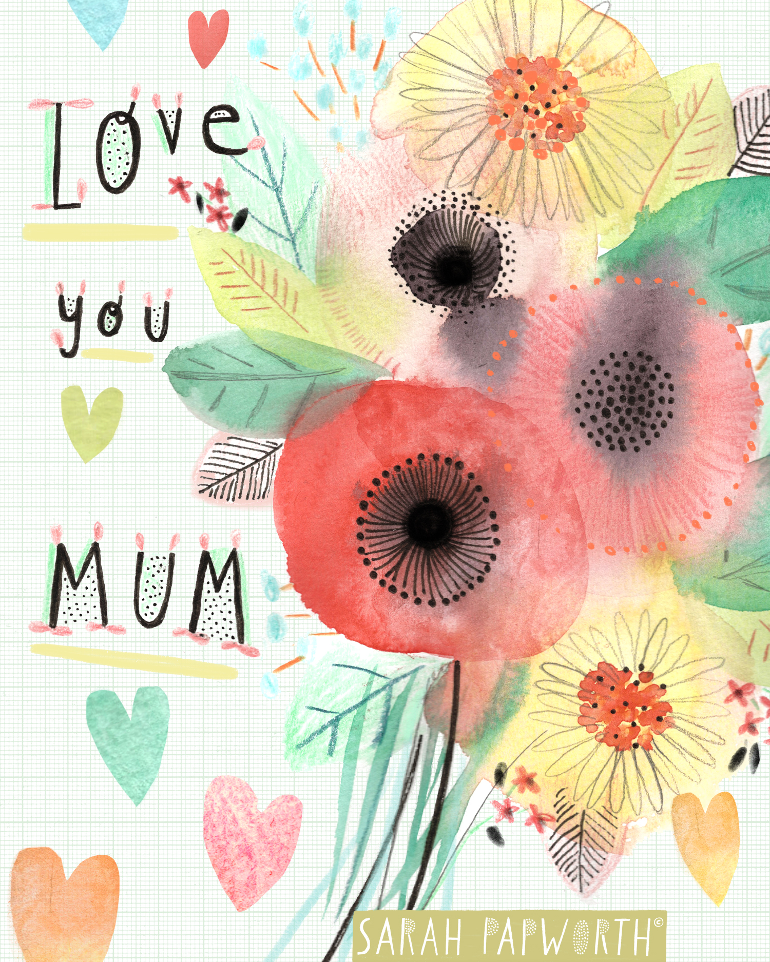 mothers day greeting card floral hearts design sarah papworth illustrator.jpg