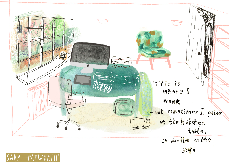 editorial illustrator office work place room layout sarah papworth.jpg
