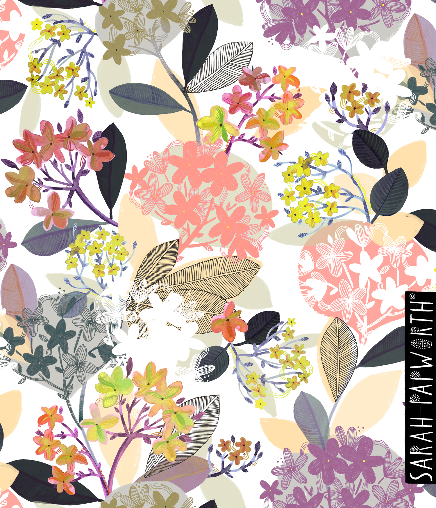 blossom repeat homeware furnishing wallpaper pattern floral print by sarah papworth design.jpg