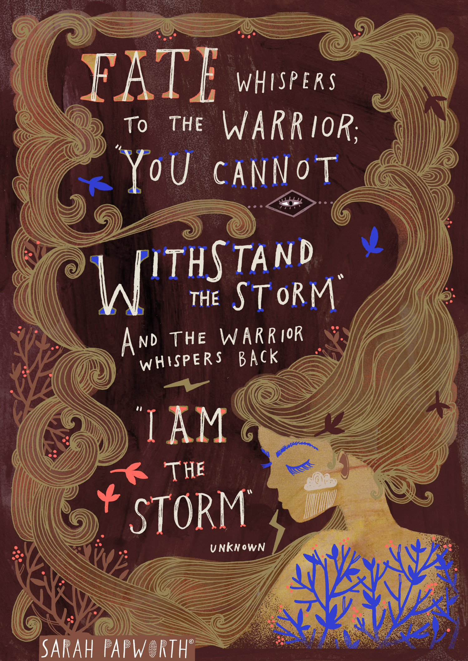 i am the storm quote illustrated quotes poems hand lettering sarah papworth.jpg