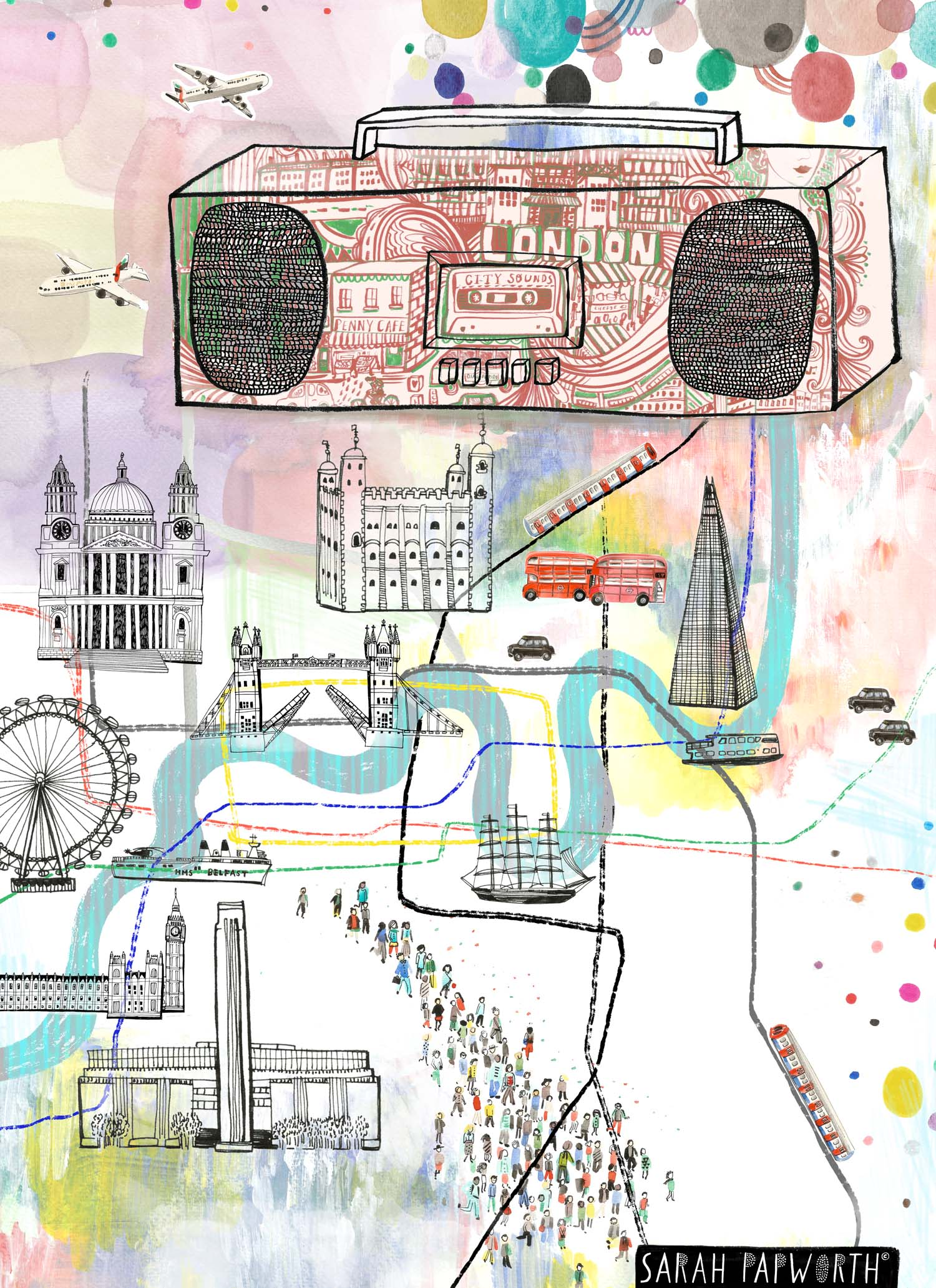 london map editorial illustration sounds of the city sarah papworth.jpg