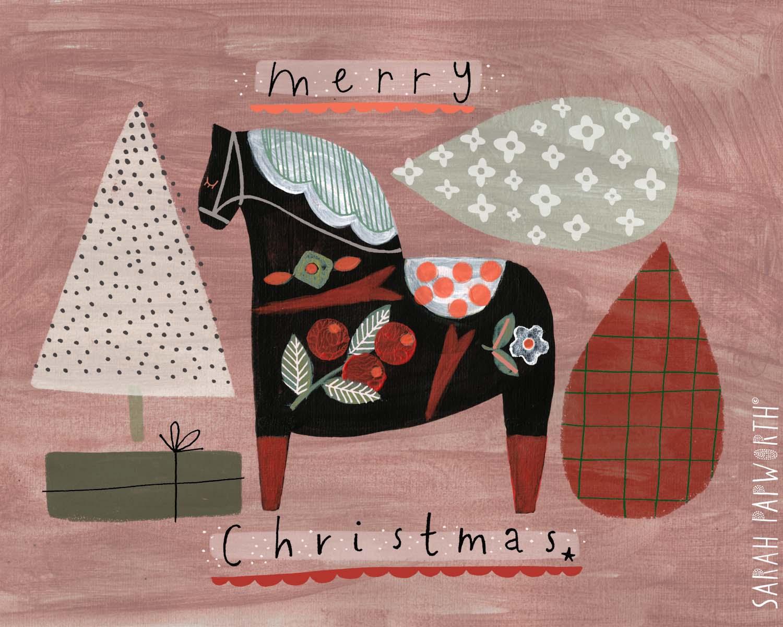 hand painted dala horse christmas greeting card sarah papworth design illustration.jpg