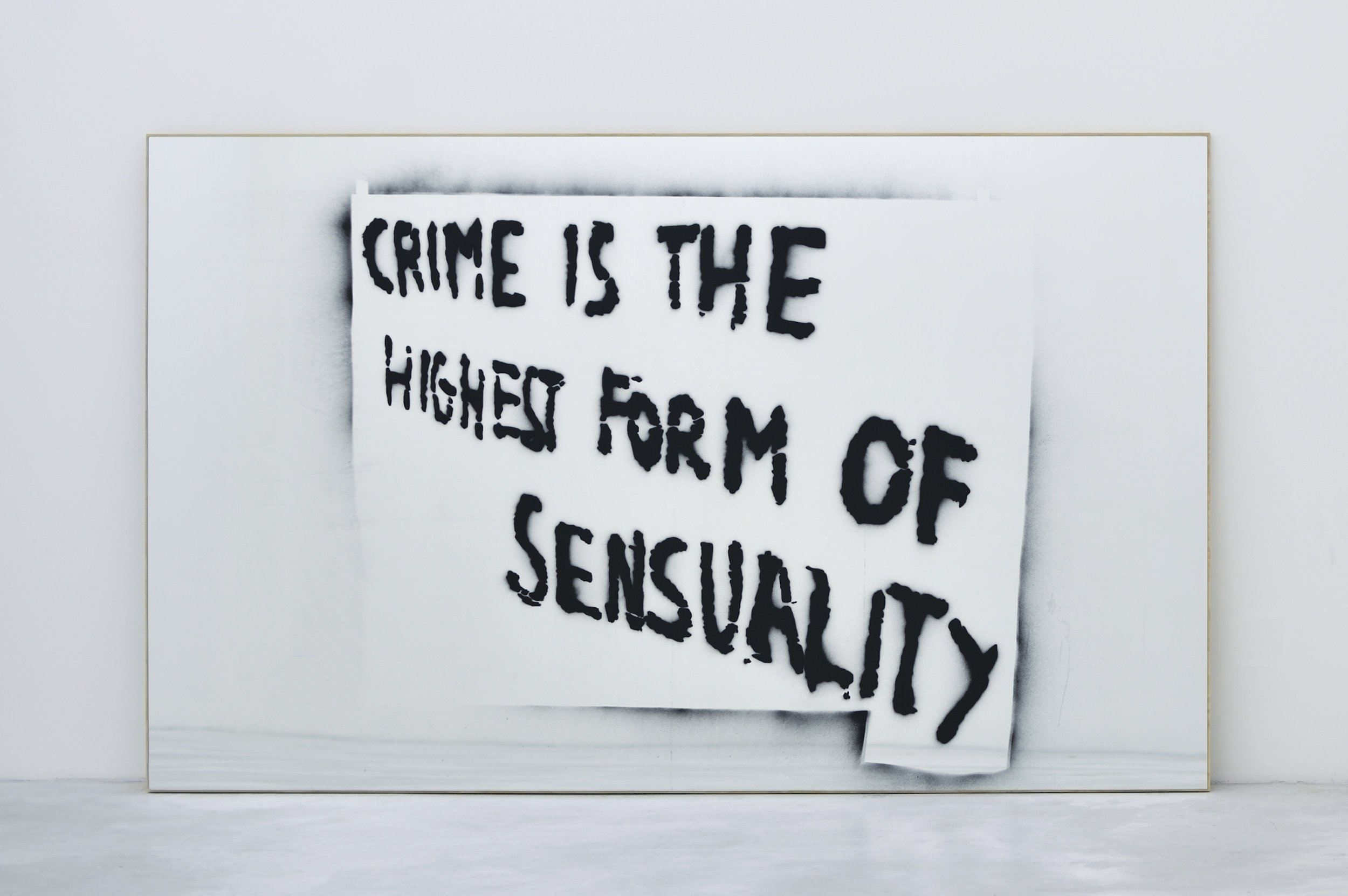 Crime Is The Highest Form of Sensuality, 2010 spray enamel on mirror on plywood 134,6 x 223,5 x 2,5 cm - 53 x 88 x 1 inches