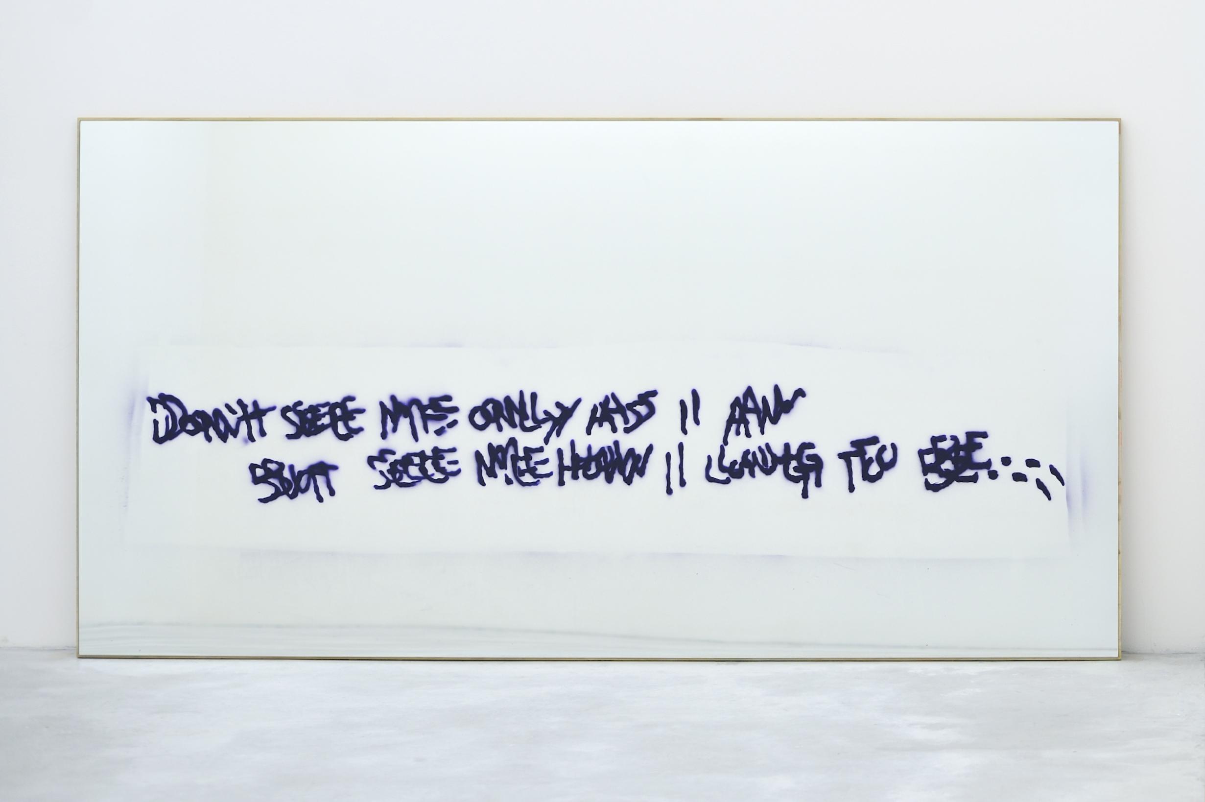 Don't See Me Only as I Am, but See Me How I Long to Be..., 2010 spray enamel on mirror on plywood 122 x 241,3 x 2,5 cm - 48 x 95 x 1 inches