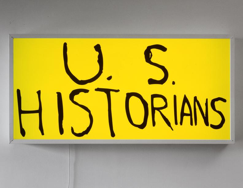 US Historians, 2002 vinyl text on neon 101,6 x 208,3 cm - 40 x 82 inches