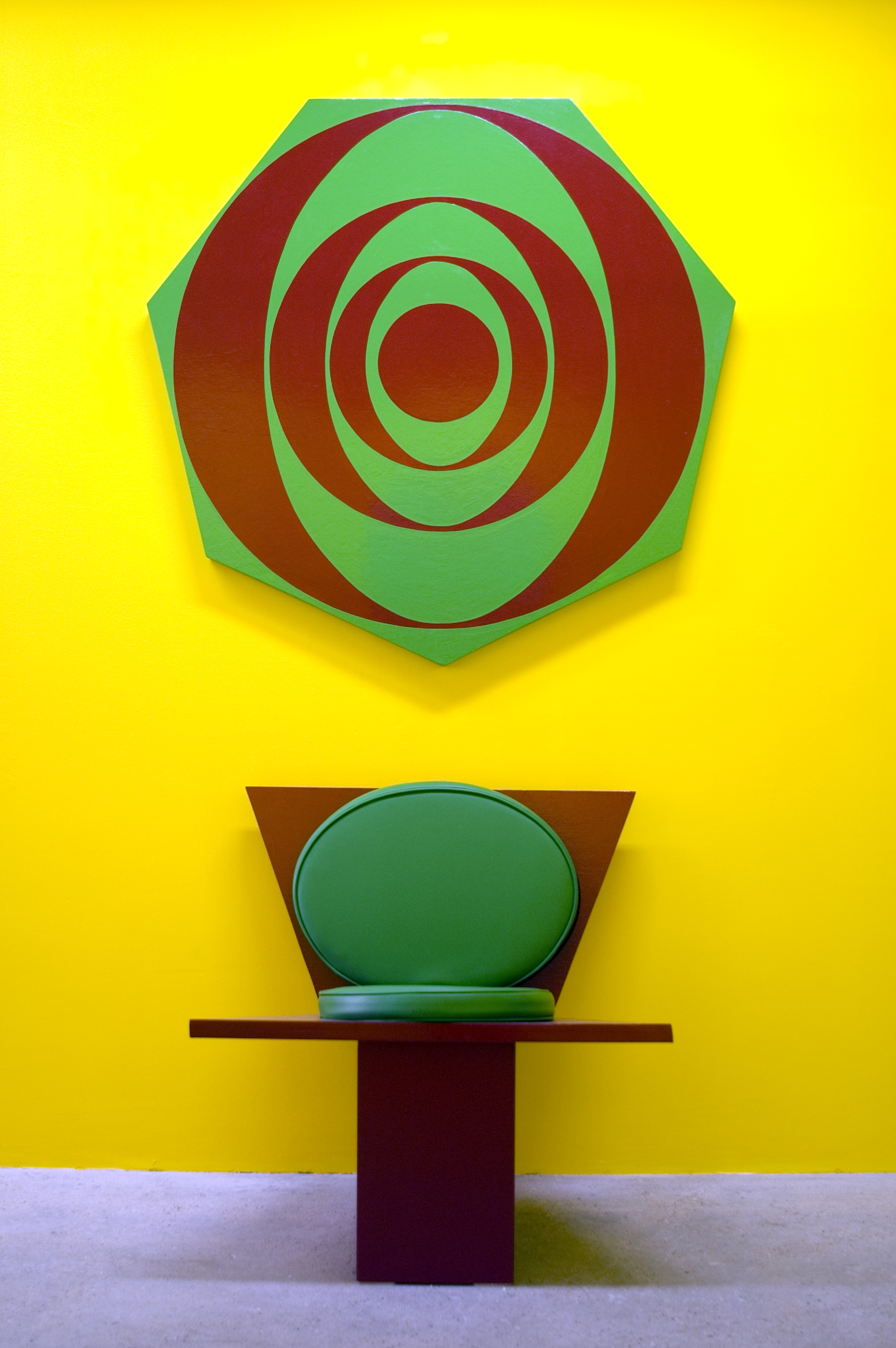 Untitled (Futura Chair and Painting) (0987), 1987 oil based enamel on wood, vinyl, foam cushion on chair variable dimensions