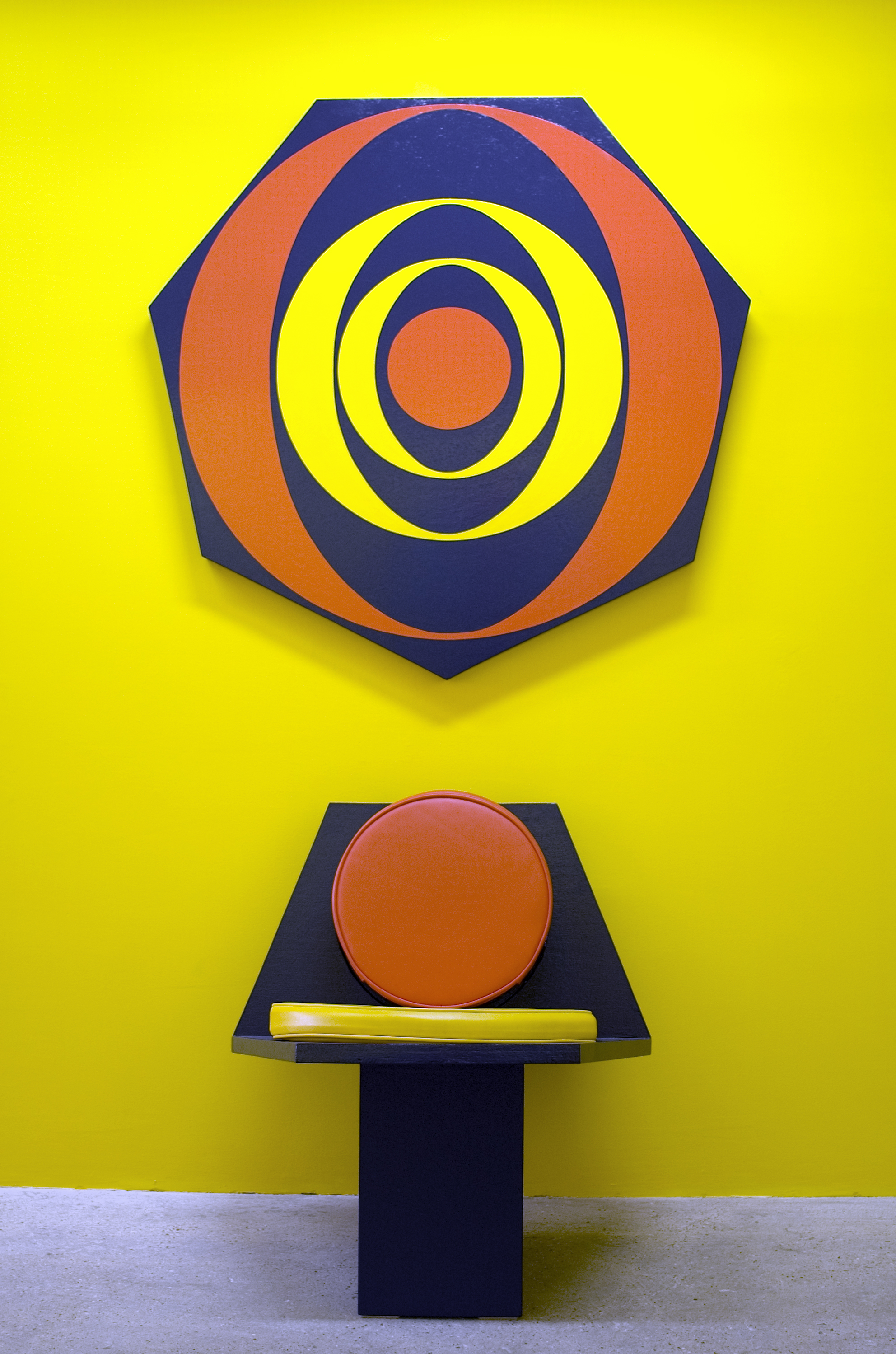 Untitled (Futura Chair and Painting) (0187), 1987 oil based enamel on wood, vinyl, foam cushion on chair variable dimensions