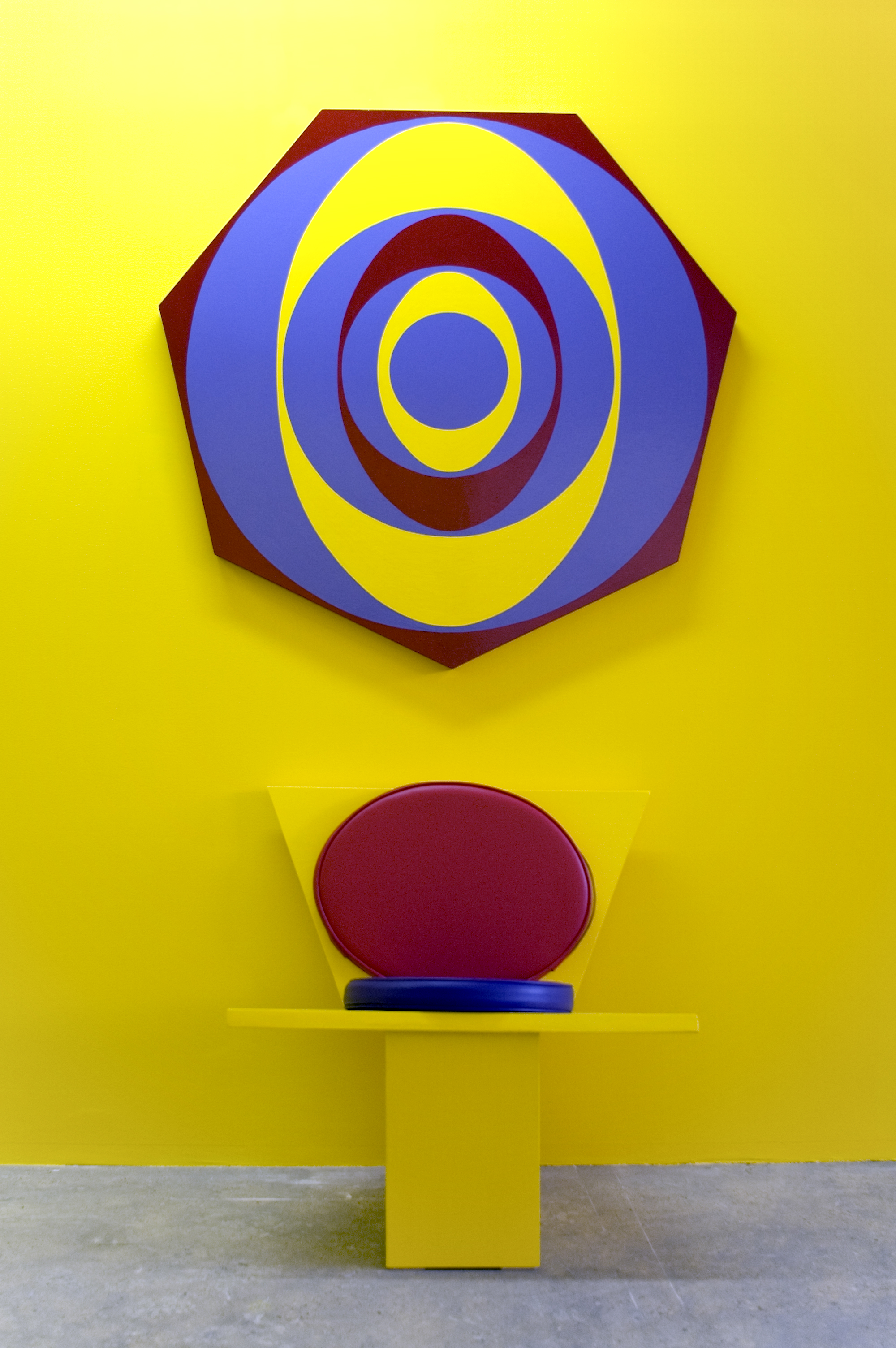 Untitled (Futura Chair and Painting) (0787), 1987 oil based enamel on wood, vinyl, foam cushion on chair variable dimensions
