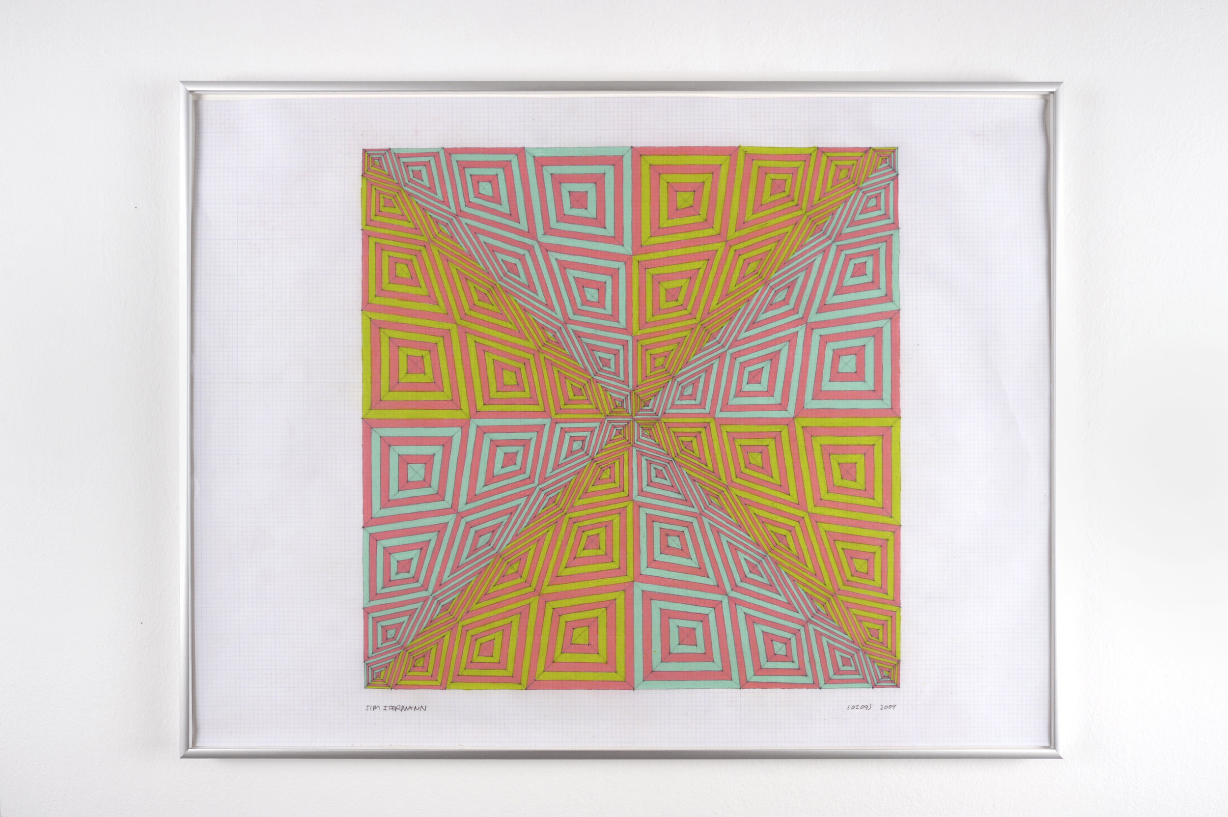 Untitled (0209), 2009 colored pencil on grid paper 47,5 x 62,7 cm - 18 3/4 x 24 5/8 inches