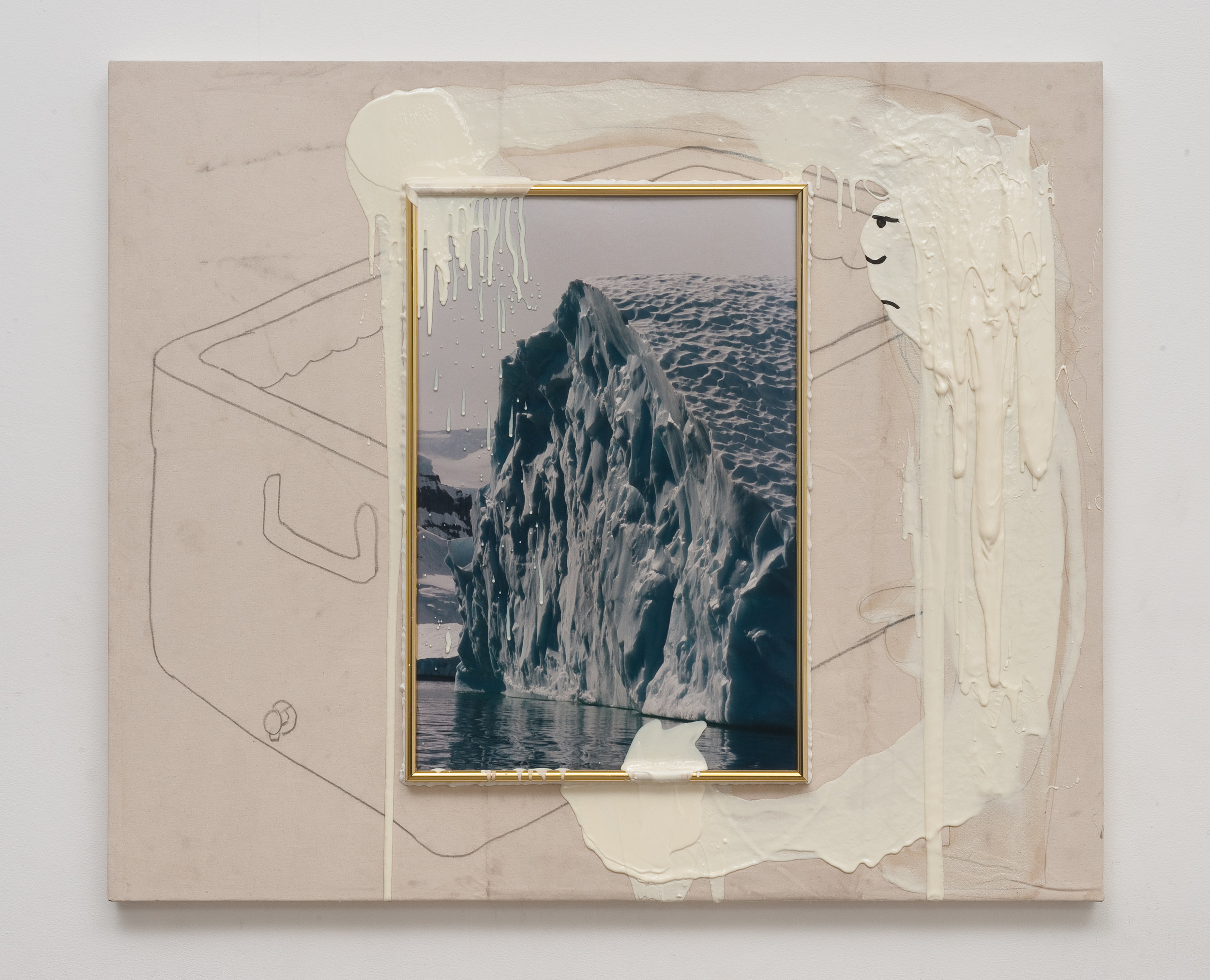 The Iceman Cometh, 2013 canvas, framed image, silicone, urethane, acrylic, pencil, wire, wood 109,2 x 129,6 cm - 43 x 51 inches