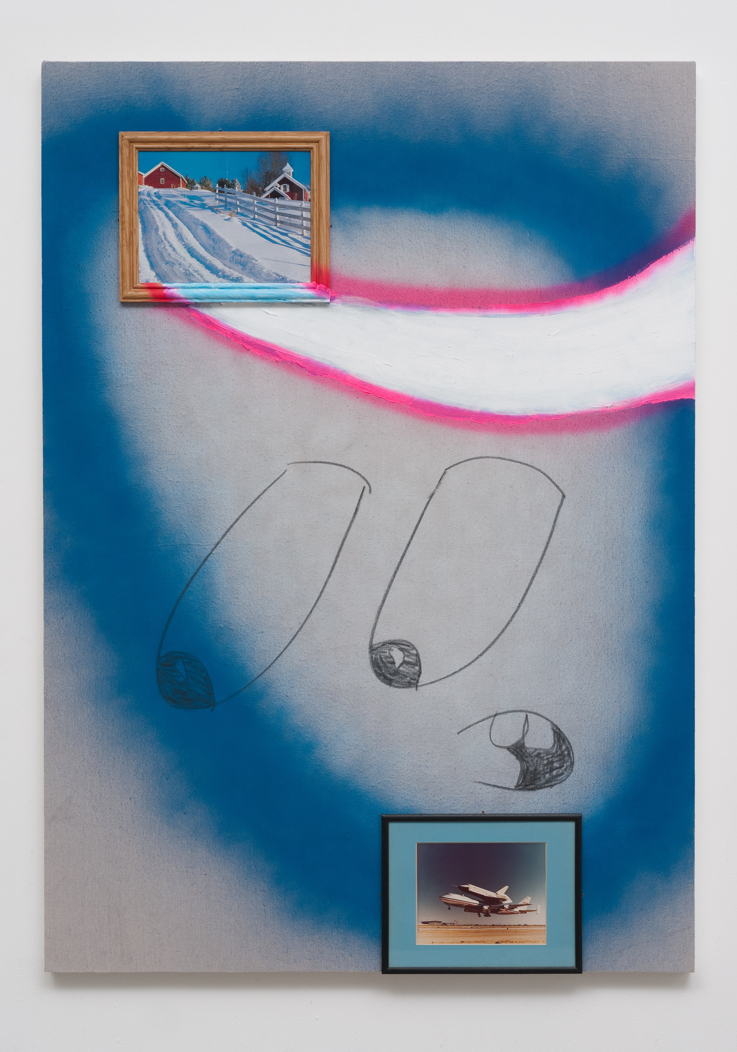 The Long Way Home, 2013 canvas, framed images, acrylic, spray paint, wire, wood 170,2 x 122 cm - 67 x 48 inches