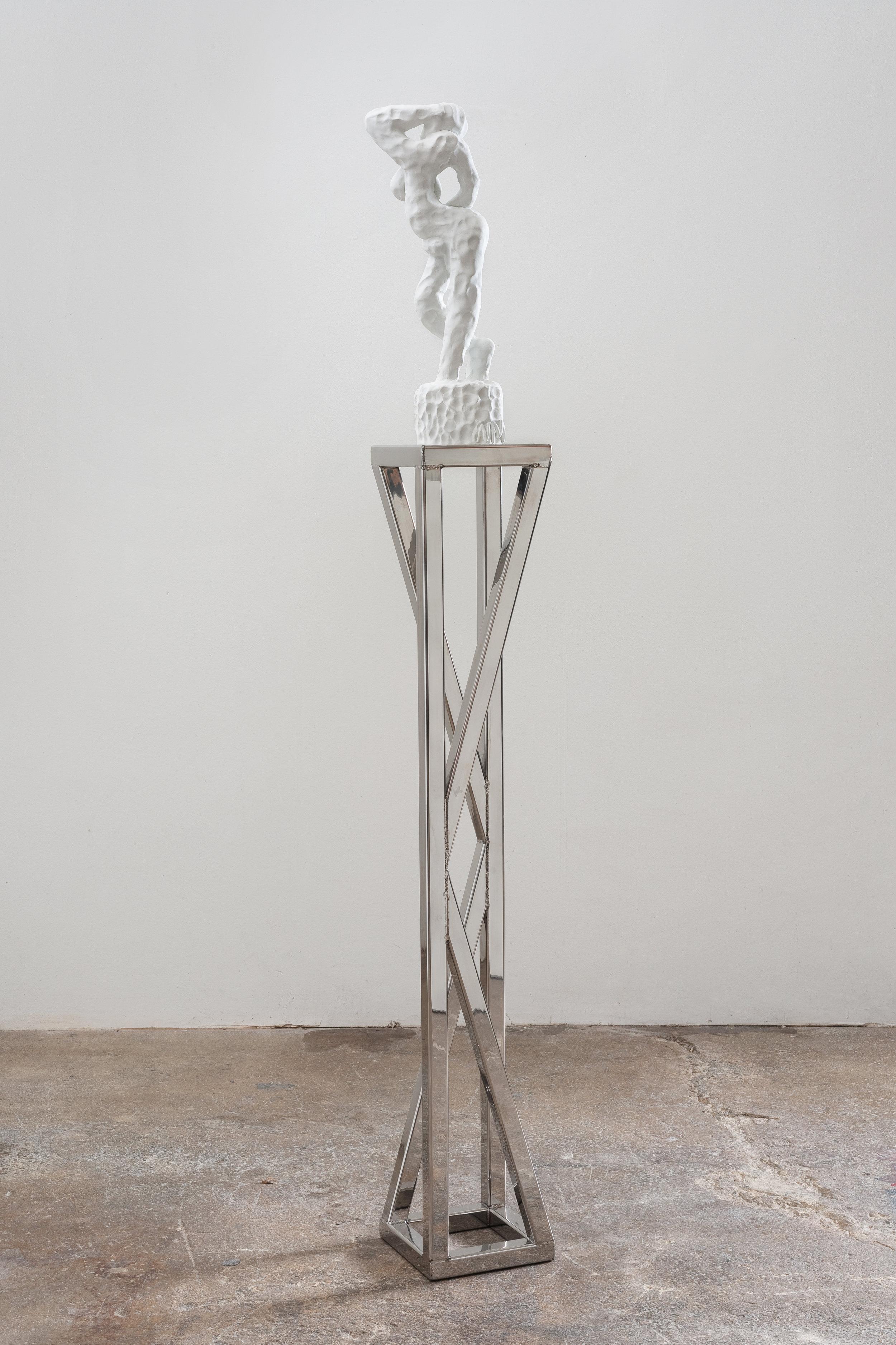 Icky-bana (Shadow Dancer), 2013 epoxy clay, stainless steel 172,7 x 20,3 x 20,3 cm - 68 x 8 x 8 inches