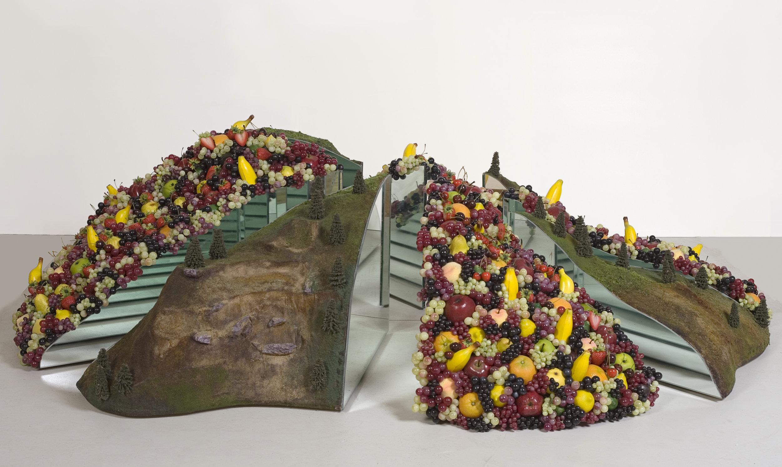 Inverted Chandelier, 2006 model railroad scenery, plastic fruits, mirror, styrofoam, wood 186 x 186 x 51 cm - 73 1/4 x 73 1/4 x 20 1/8 inches