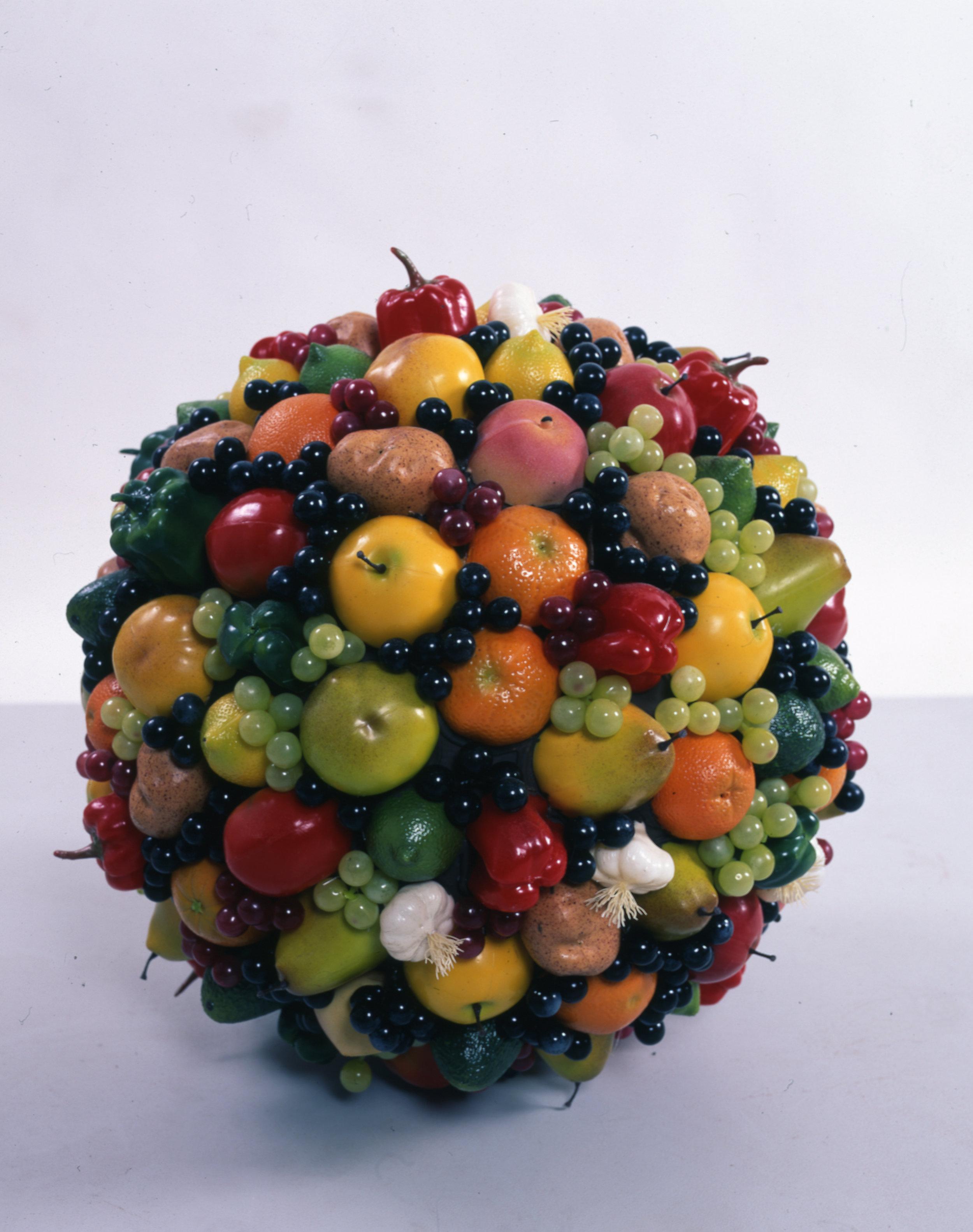 Utopian Ornament, 2003 styrofoam sphere with plastic fruits diam.: 61 cm - 24 inches