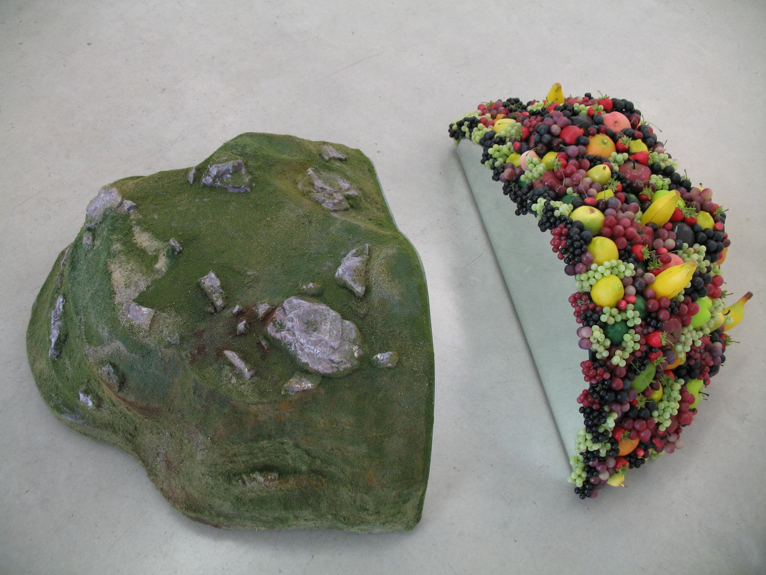 Fallacy, 2006 model railroad scenery, plastic fruits, mirror, styrofoam, wood 51 x 92 x 122 cm - 20 x 36 1/4 x 48 inches