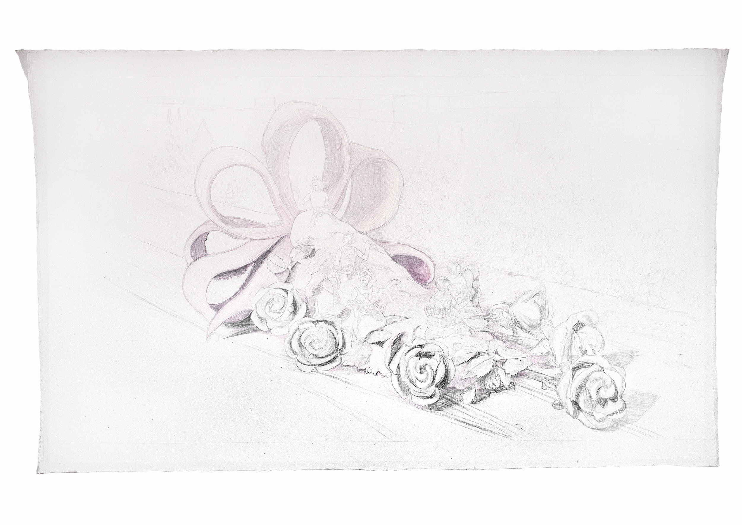 Rose Queens, 2004 graphite and pencil on canvas 277 x 497 cm - 109 x 195 5/8 inches