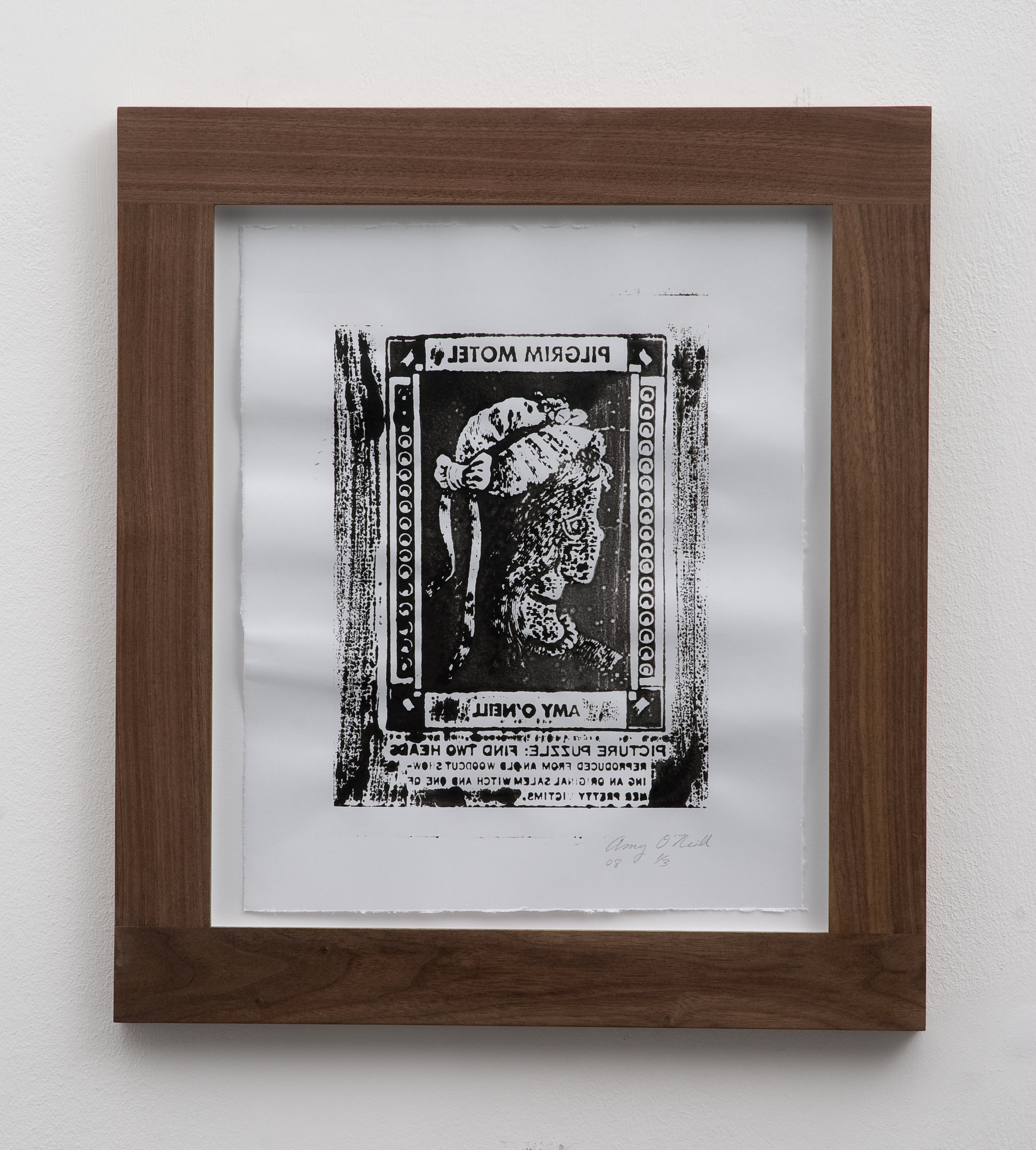 Salem Witch/Pretty Victim (Mirrored), 2008 woodcut print 32 x 26,5 cm - 12 1/2 x 10 3/8 inches