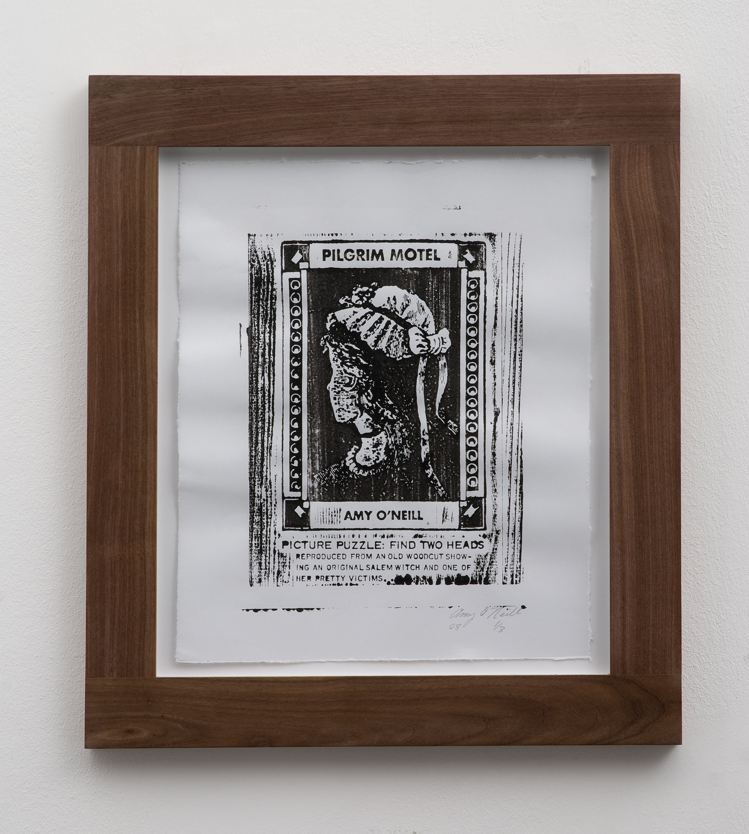 Salem Witch/Pretty Victim, 2008 woodcut print 32 x 26,5 cm - 12 1/2 x 10 3/8 inches