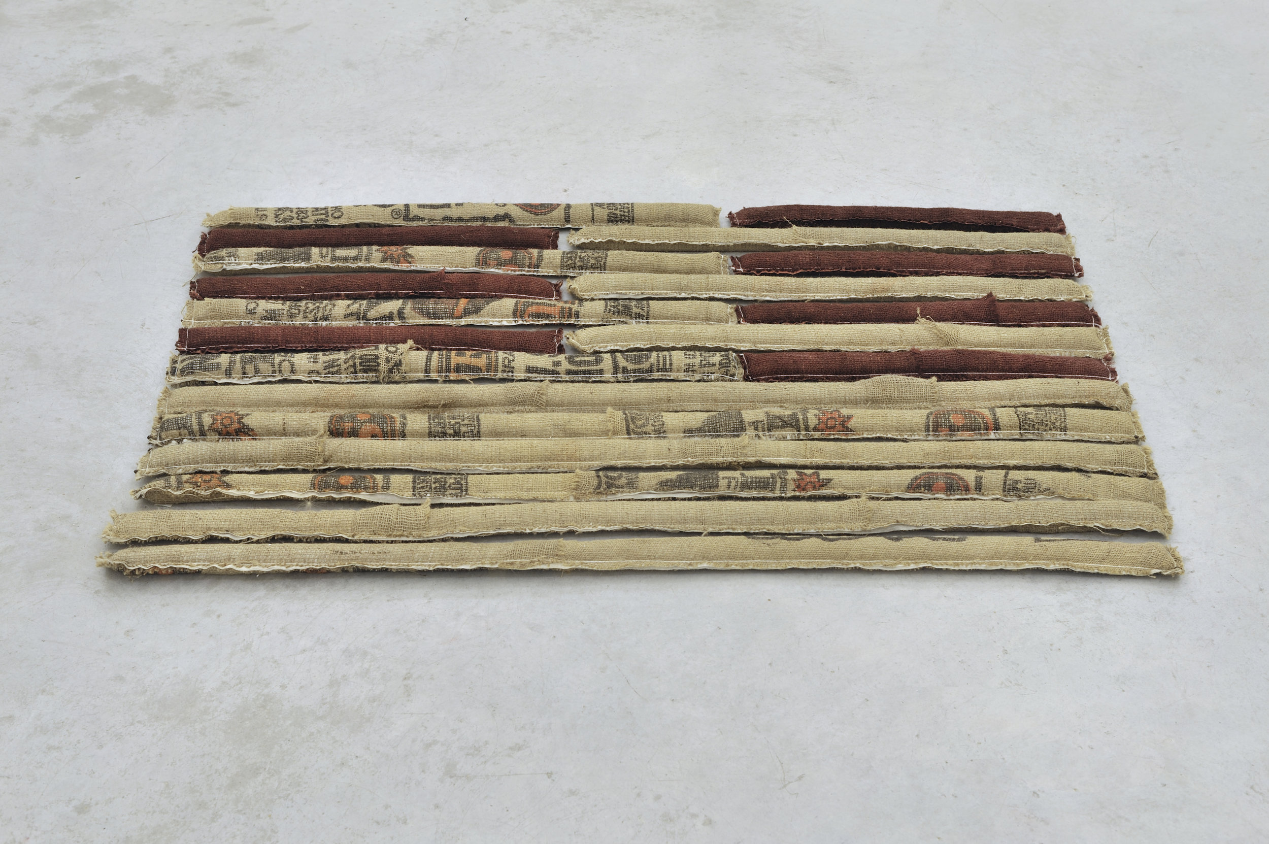 Deconstructing 13 Stripes and a Rectangle-Spur, 2011 burlap and sand 90 x 146 x 6 cm - 35 3/8 x 57 1/2 x 2 3/8 inches