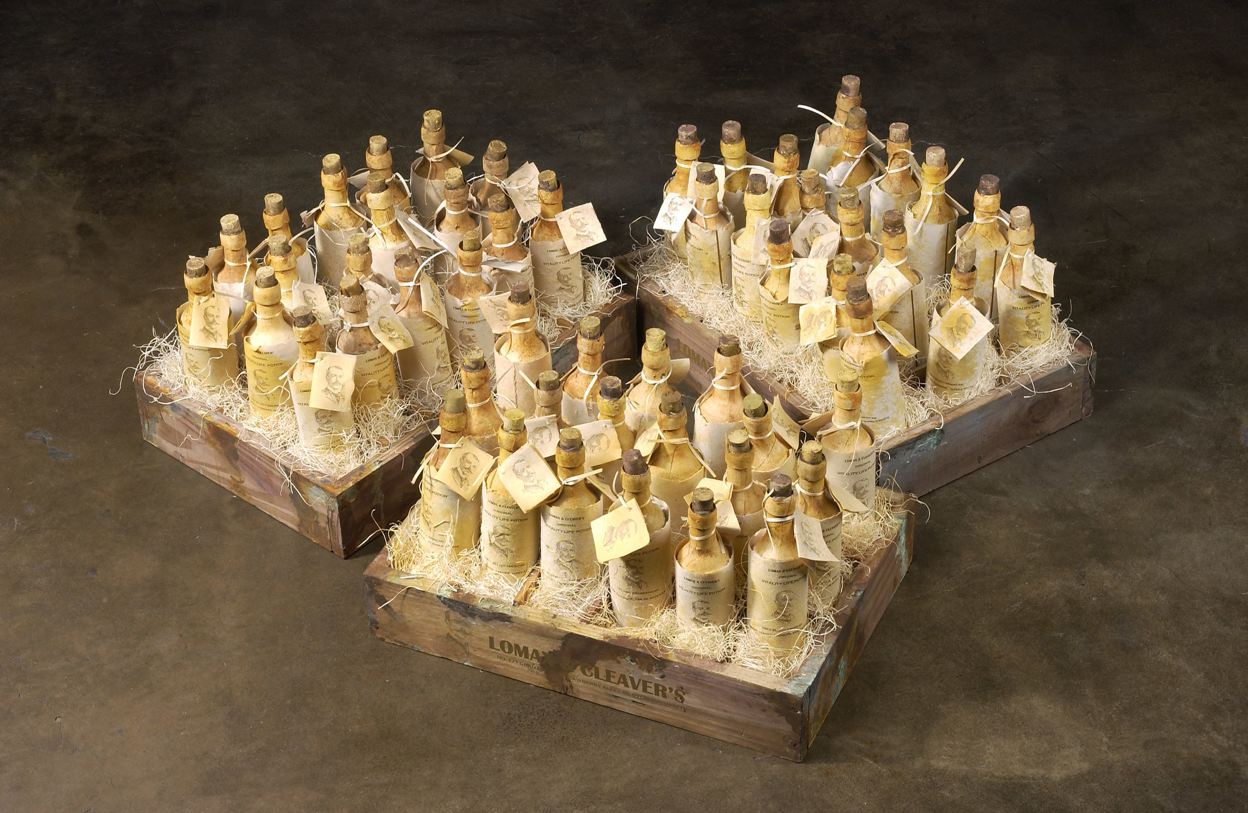 """The Last Lost Shipment of An Untested Life Potion, 2003-2004 Cast and carved bone dust from every bone in the body, sulfur, homebrewed moonshine (potato derived alcohol), wine elixir (water, sugar, fermented black cherries, yeast, gelatin, tartaric acid, pectinase, sulfur dioxide, oak flavoring, fortified with aged holy water, angelica root, rosary vine, temple bells, Bishopswort, myrrh resin, prayer plant, fig leaf, immortal root, carbon, chlorophyll, spirulina, brimstone, Devil's backbone, Devil's shoestring root, ground venomous snake bone, Virginia snakeroot, Devil's club leaf, bee venom, dead sea salt, hemlock, blood root, tare, melted vinyl record droplets from Peggy Lee's """"Is That All There Is"""" and Roy Orbison's """"In Dreams""""), homemade paper, pine, rust, ribbon, water extendable resin, typeset 76,2 x 35,6 x 56 cm - 30 x 14 x 22 inches"""